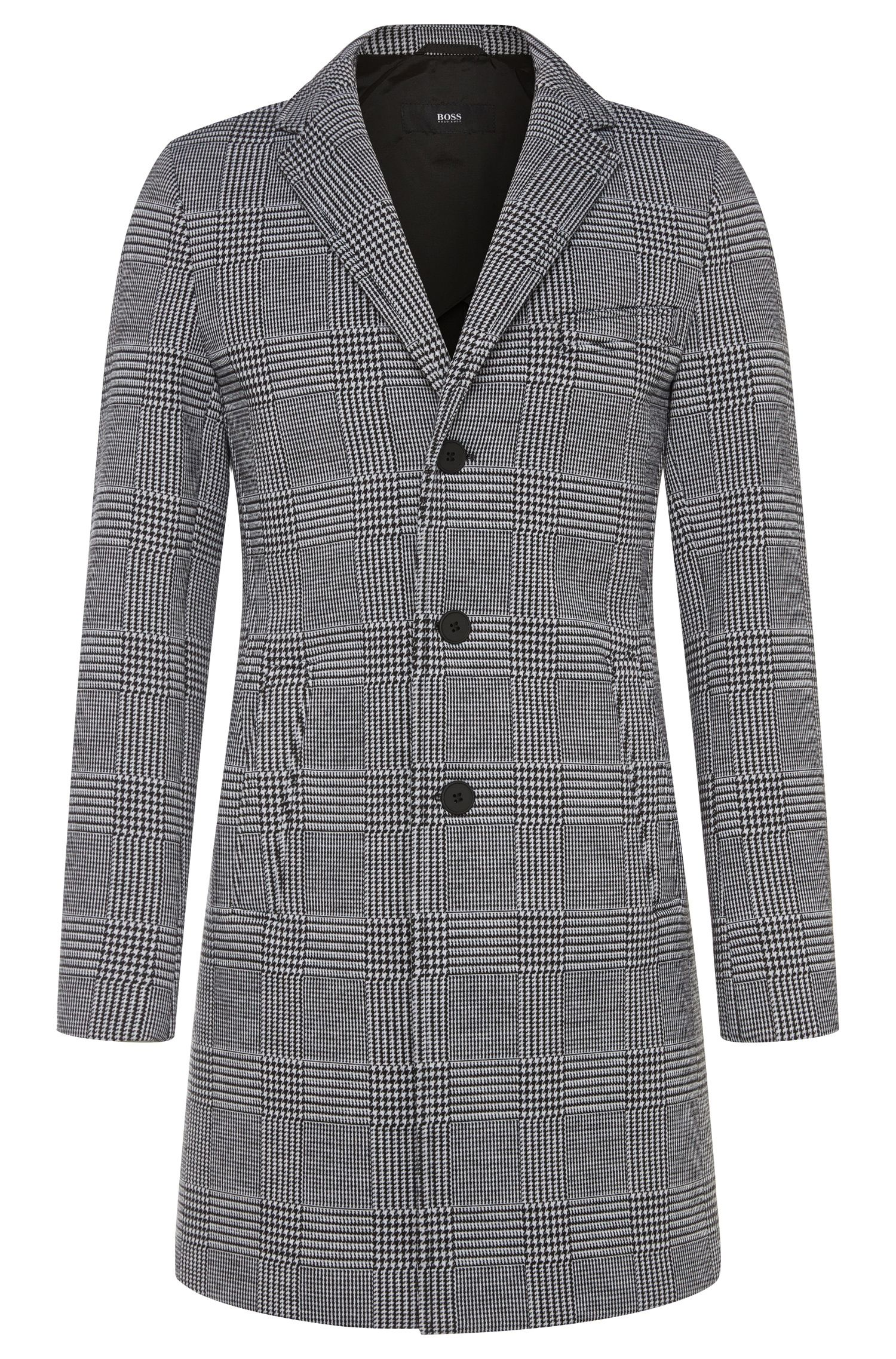 'Shawn' | Stretch Virgin Wool Neoprene Glen Plaid Car Coat