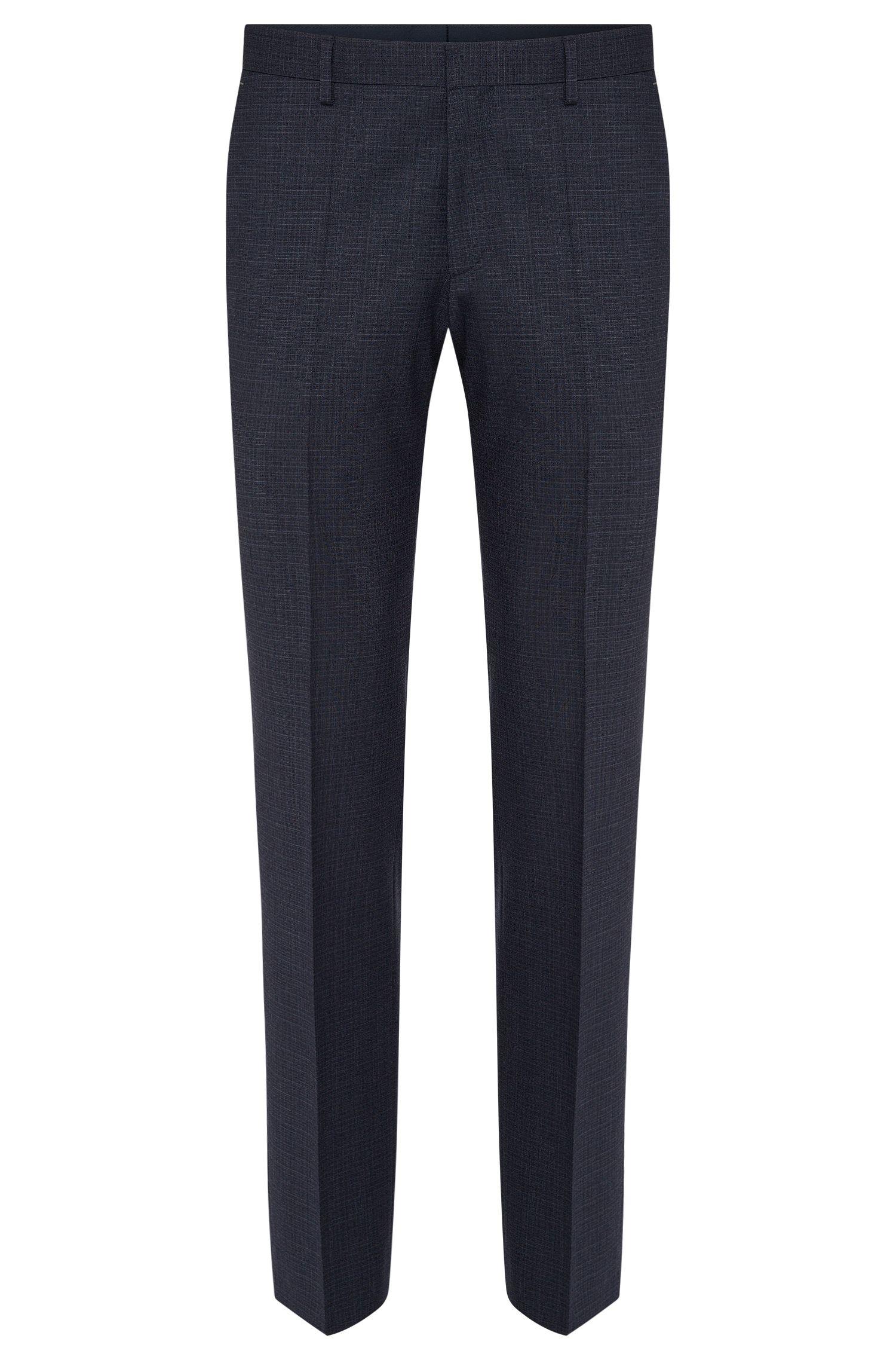 'Genesis' | Slim Fit, Stretch Virgin Wool Patterned Dress Pants