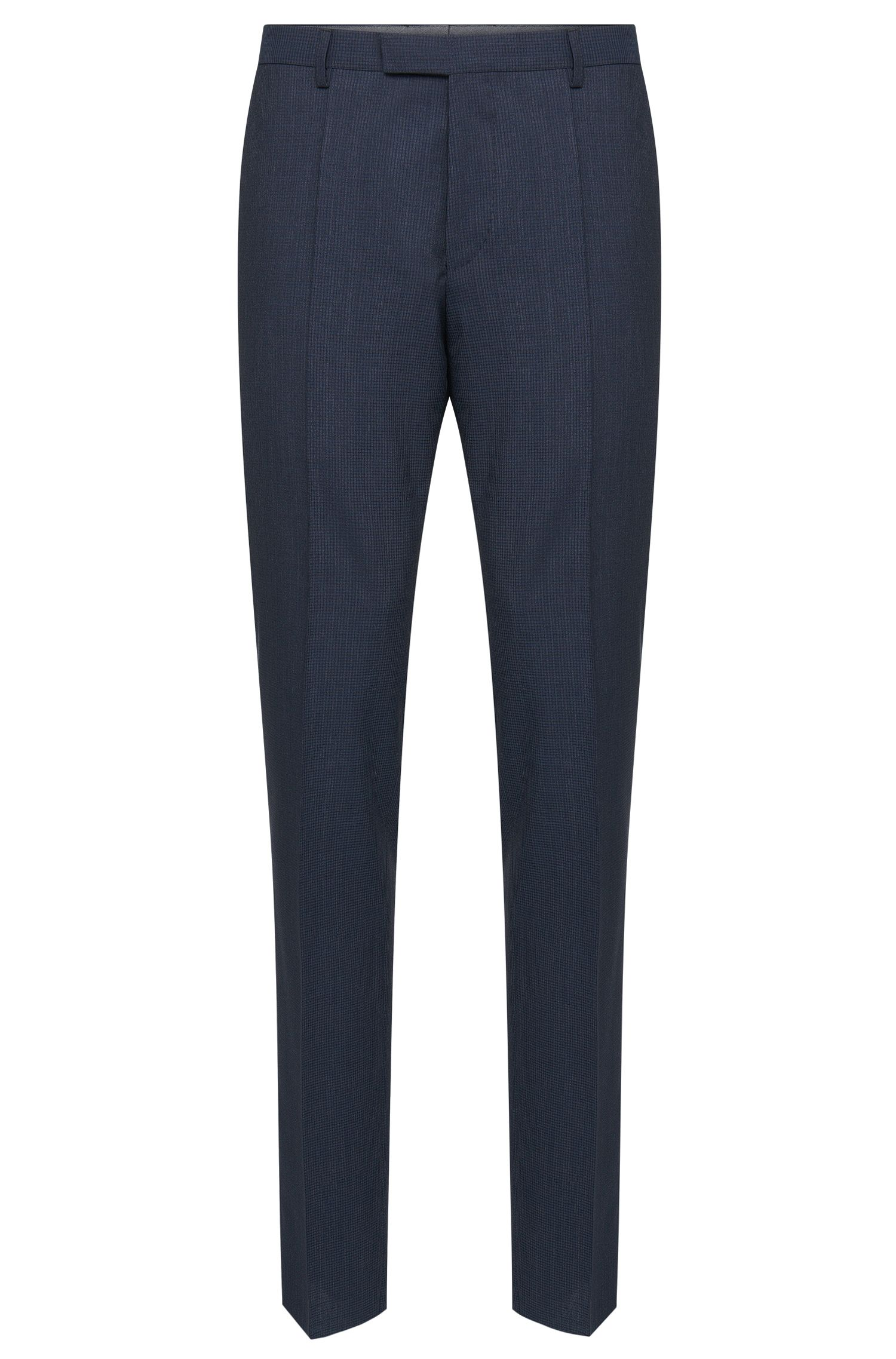 'Leenon' | Regular Fit, Super 100 Virgin Wool Check Dress Pants