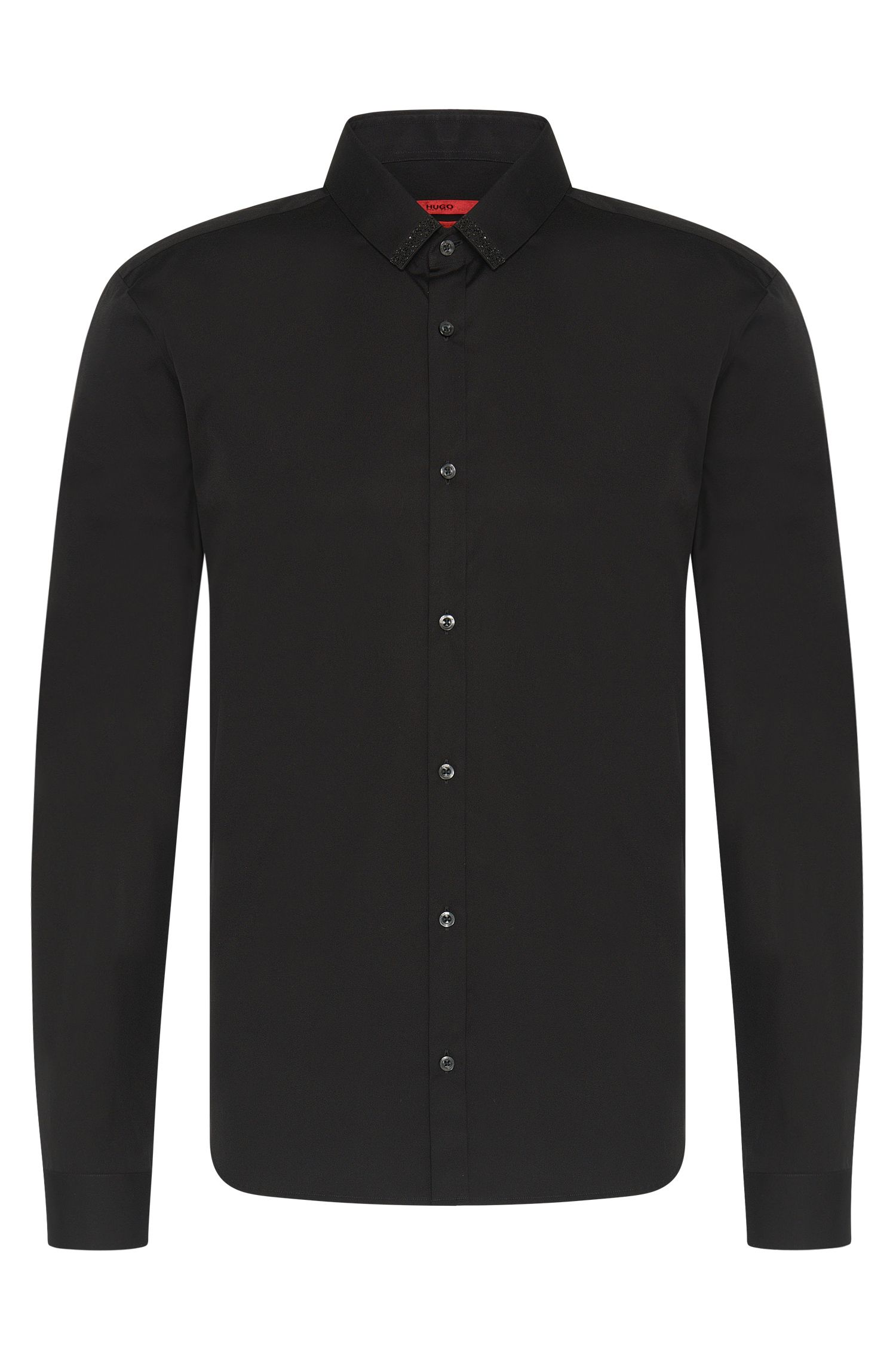 'Ero' | Slim Fit, Stretch Cotton Swarovski Button Down Shirt