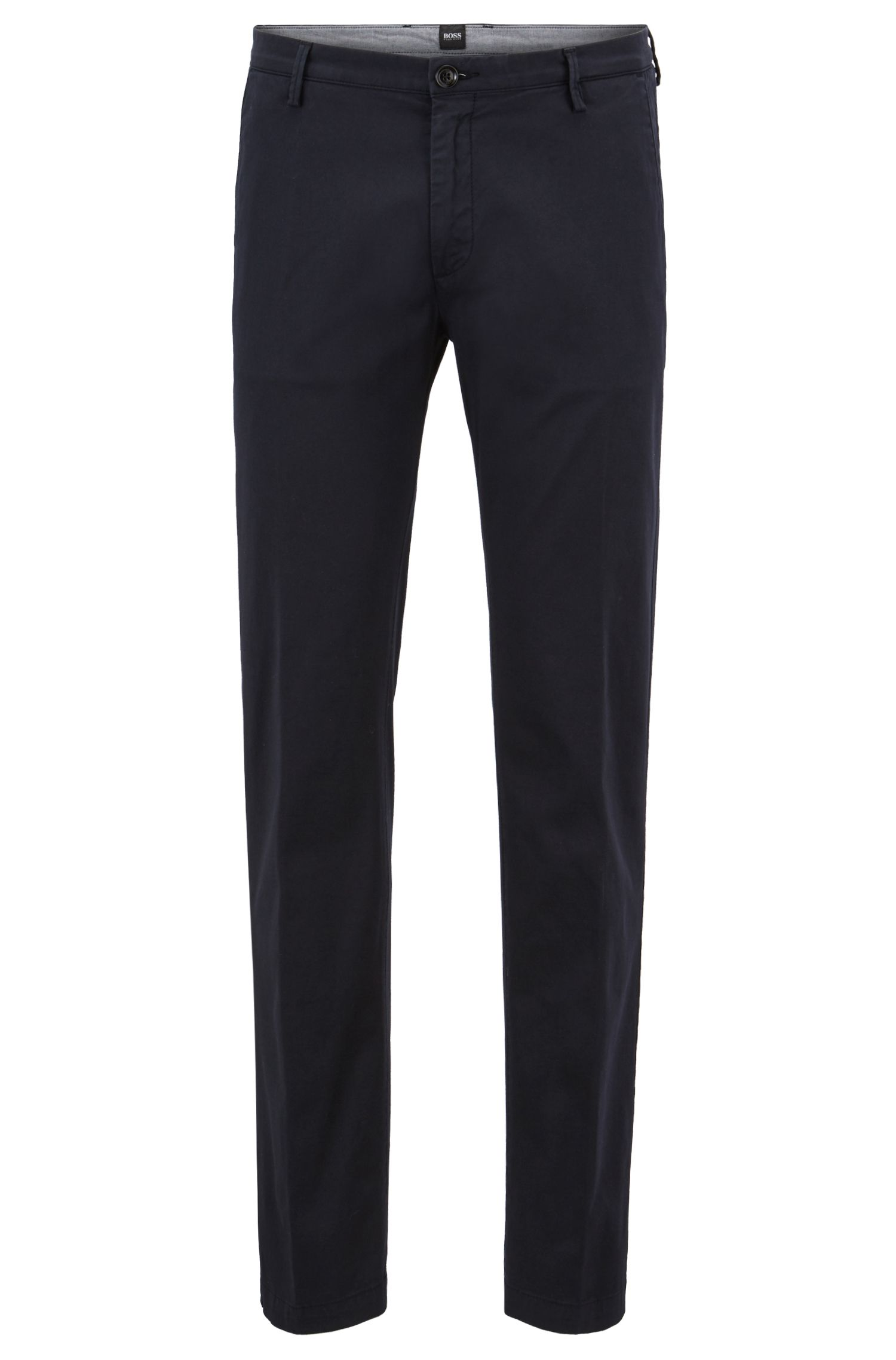 'Rice3-D' | Slim Fit, Cotton Stretch Trousers