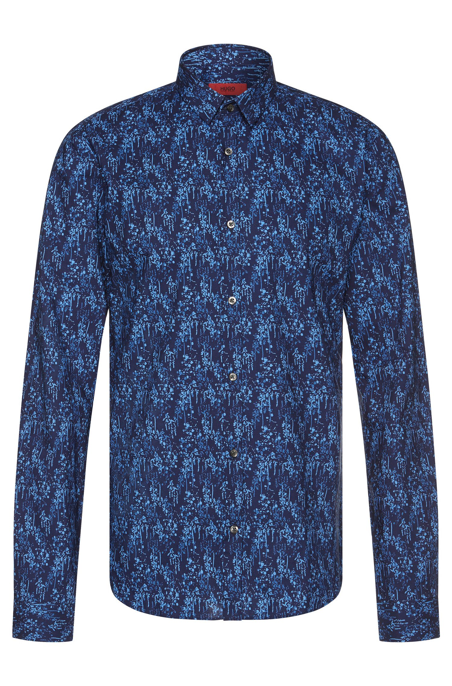 'Ero' | Slim Fit, Stretch Cotton Printed Button Down Shirt