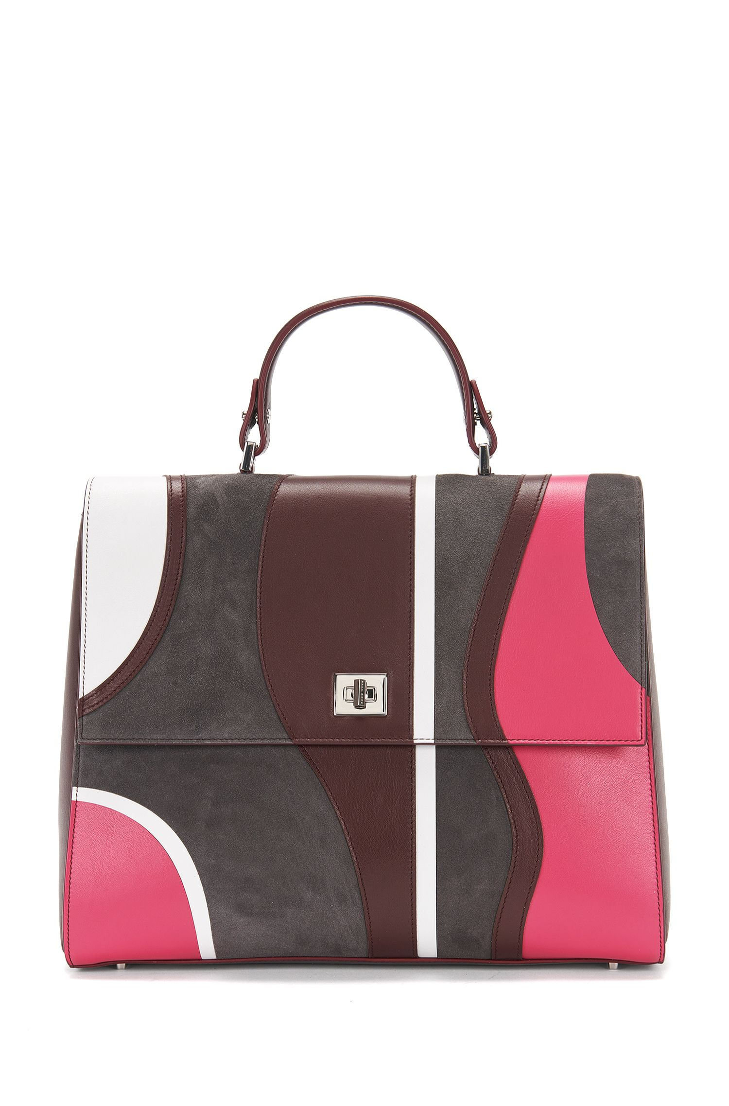 'BOSS Bespoke TH M-P' | Italian Leather Patchwork Handbag, Detachable Strap