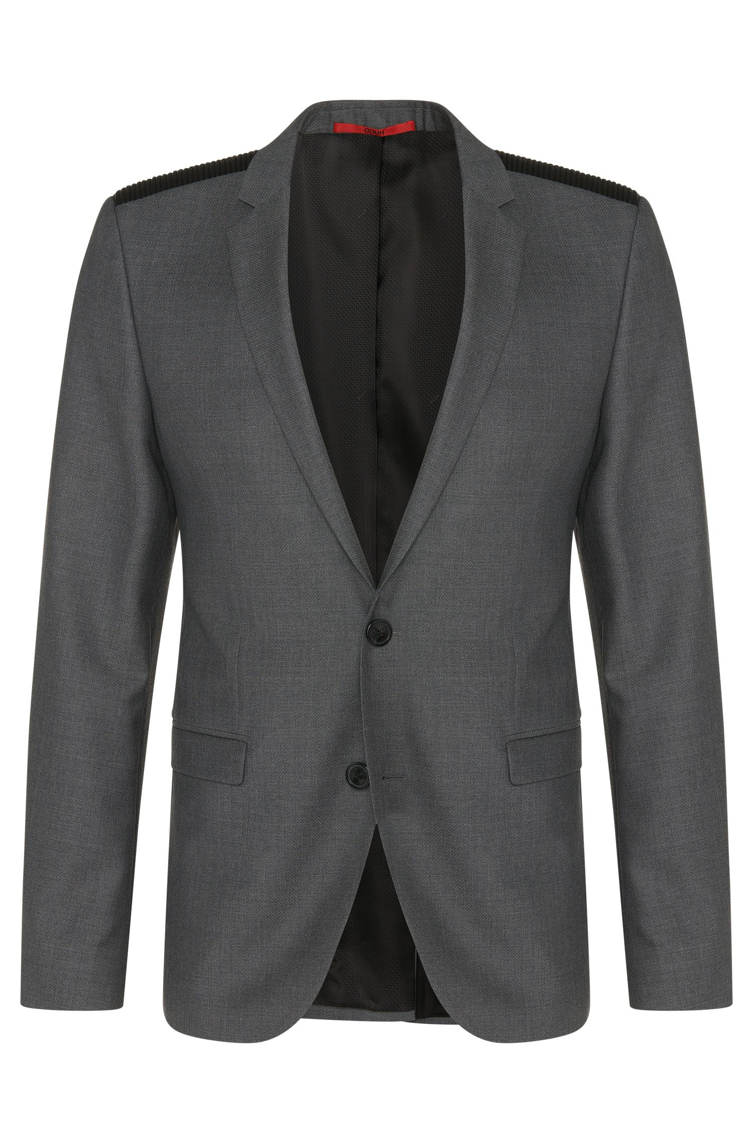 'Andson' | Extra Slim Fit, Virgin Wool Vegan-Leather Shoulder Sport Coat