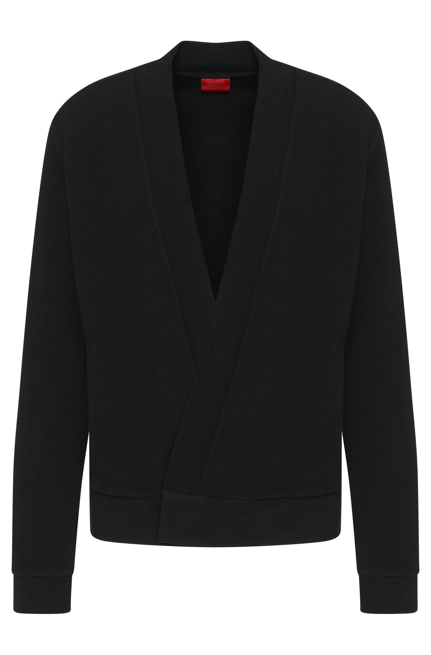 'Dimperial' | Stretch Viscose Ribbed Surplice Cardigan