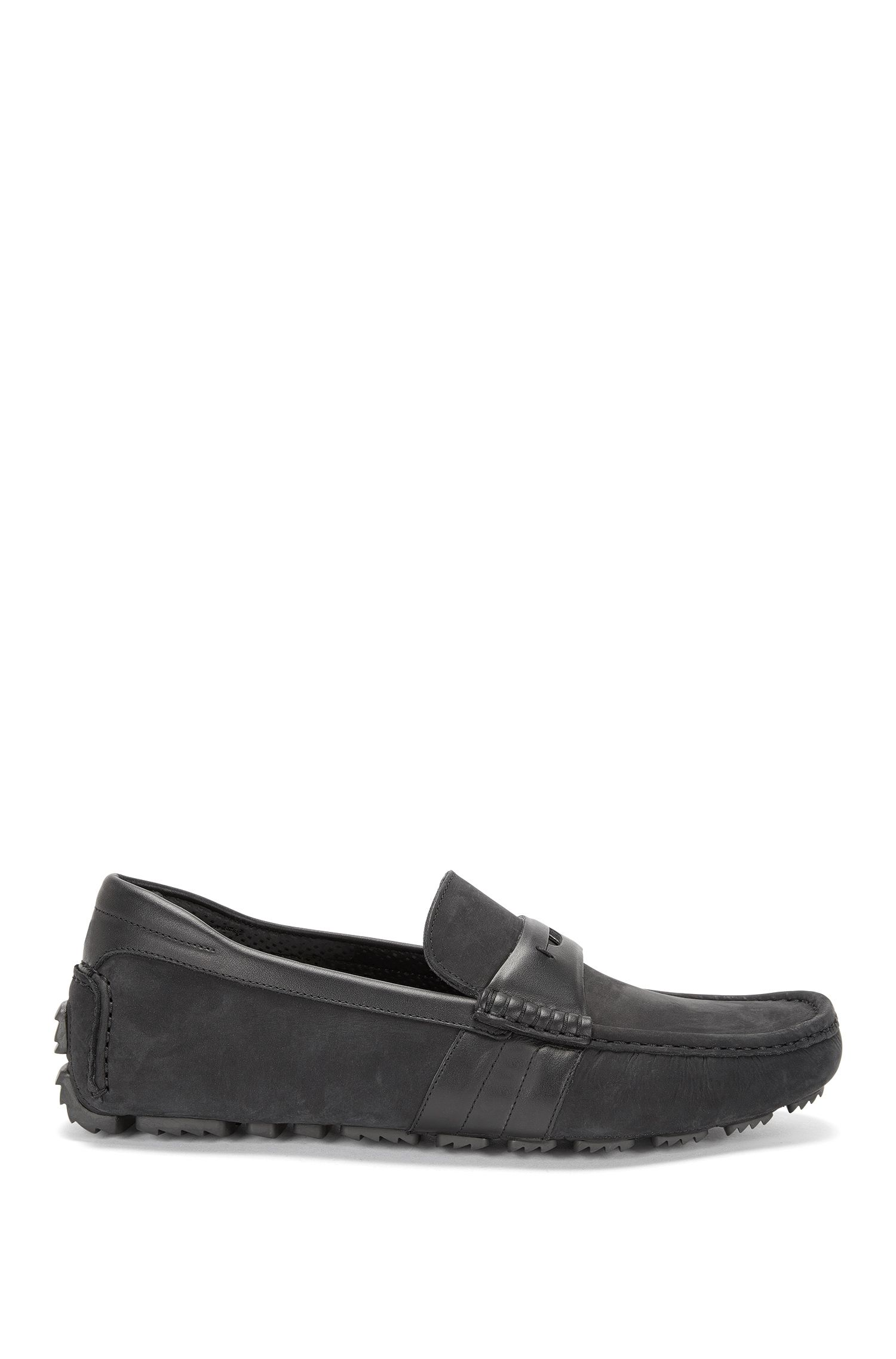 'Driver Mocc Nult' | Italian Suede Plain Leather Driving Moccasins