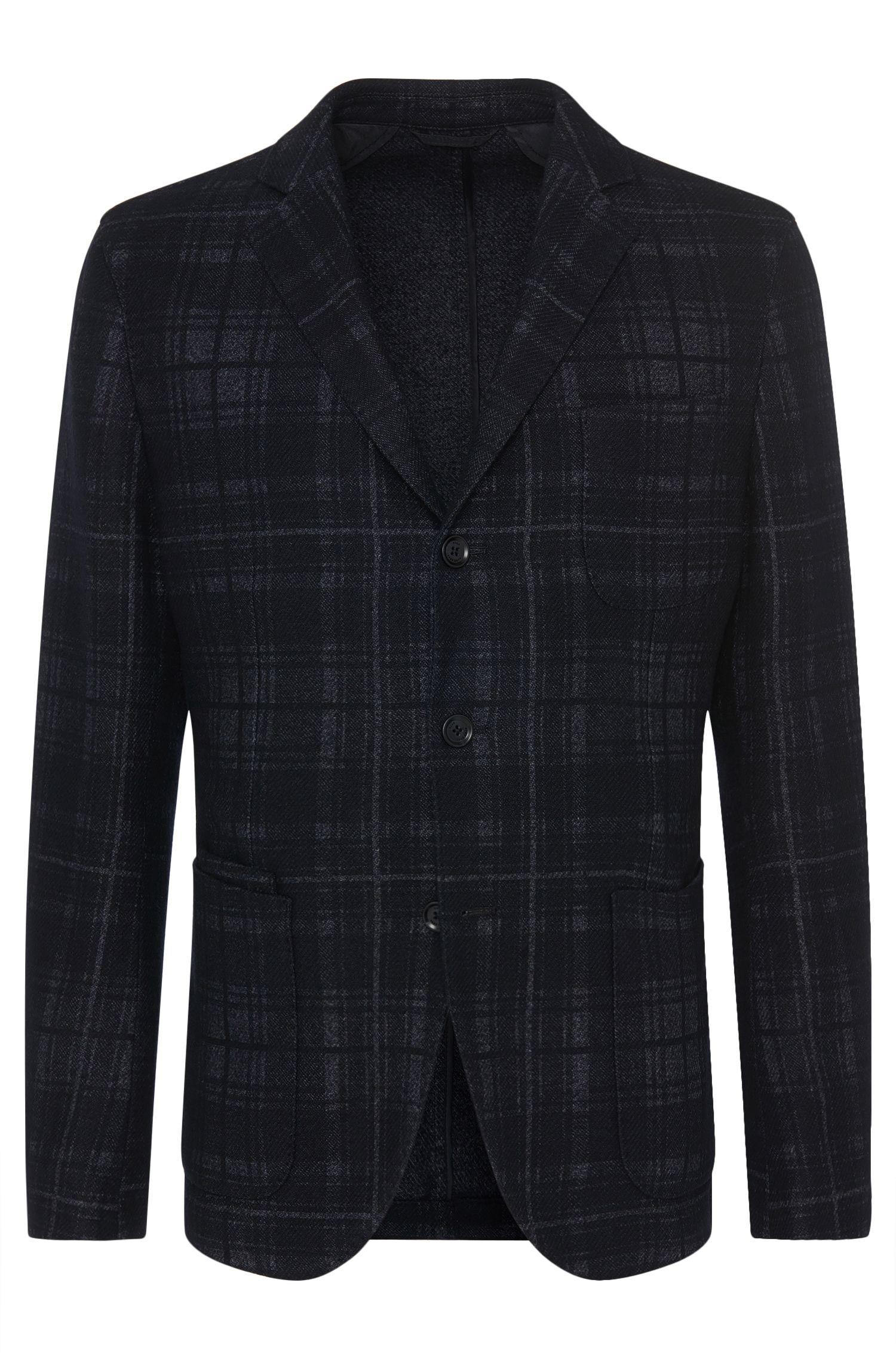 'Nolius-D' | Slim Fit, Virgin Wool Blend Plaid Sport Coat