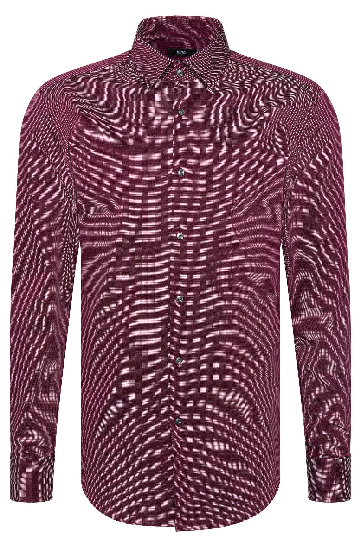 'Jenno'   Slim Fit, Cotton Contrast Textured Dress Shirt