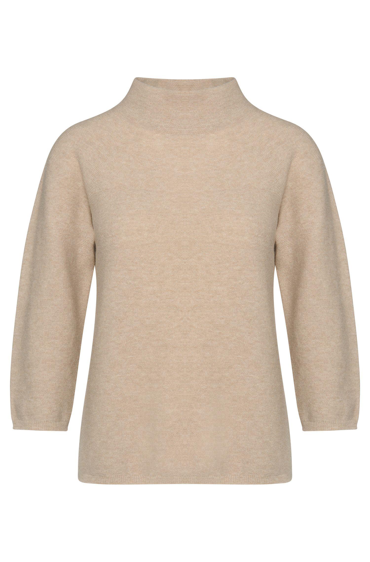 'Famke'   Virgin Wool Cashmere Funnel Neck Sweater