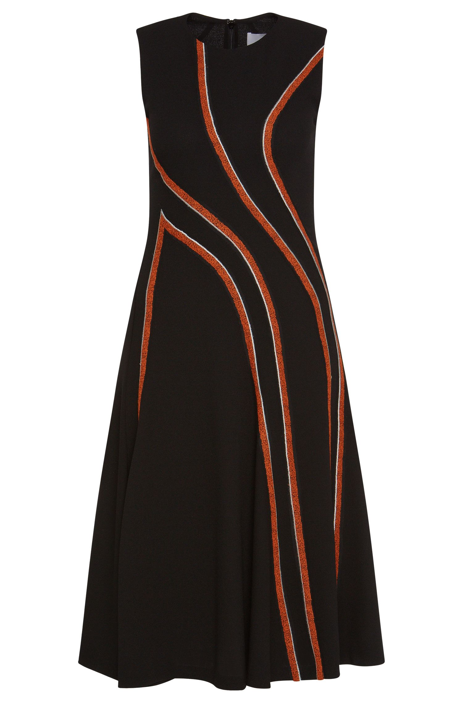 'FS_Derici' | Contrast Wool Stripe A-Line Dress
