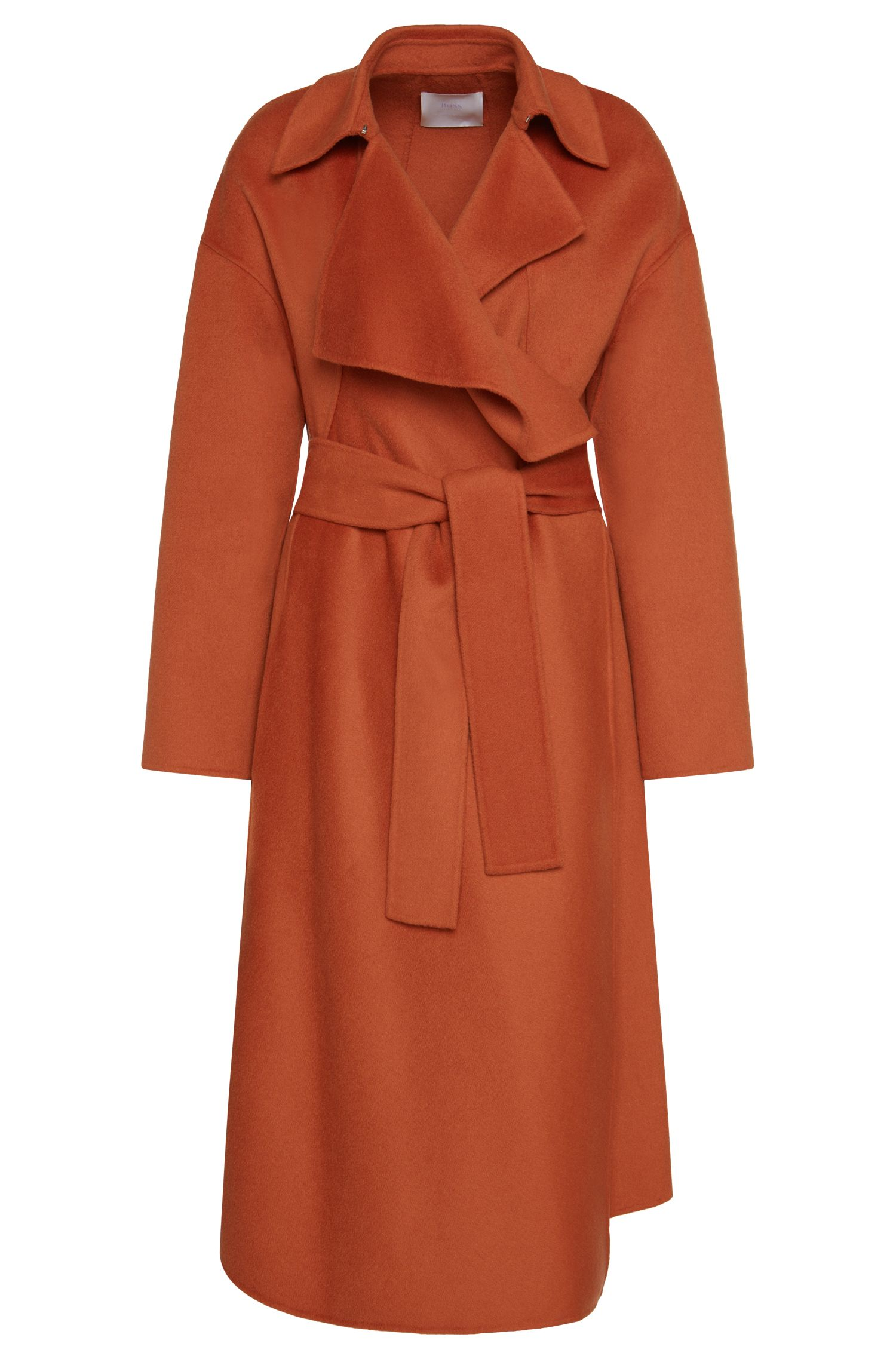'FS_Cudrape' | Wool Cashmere Open Front Belted Coat