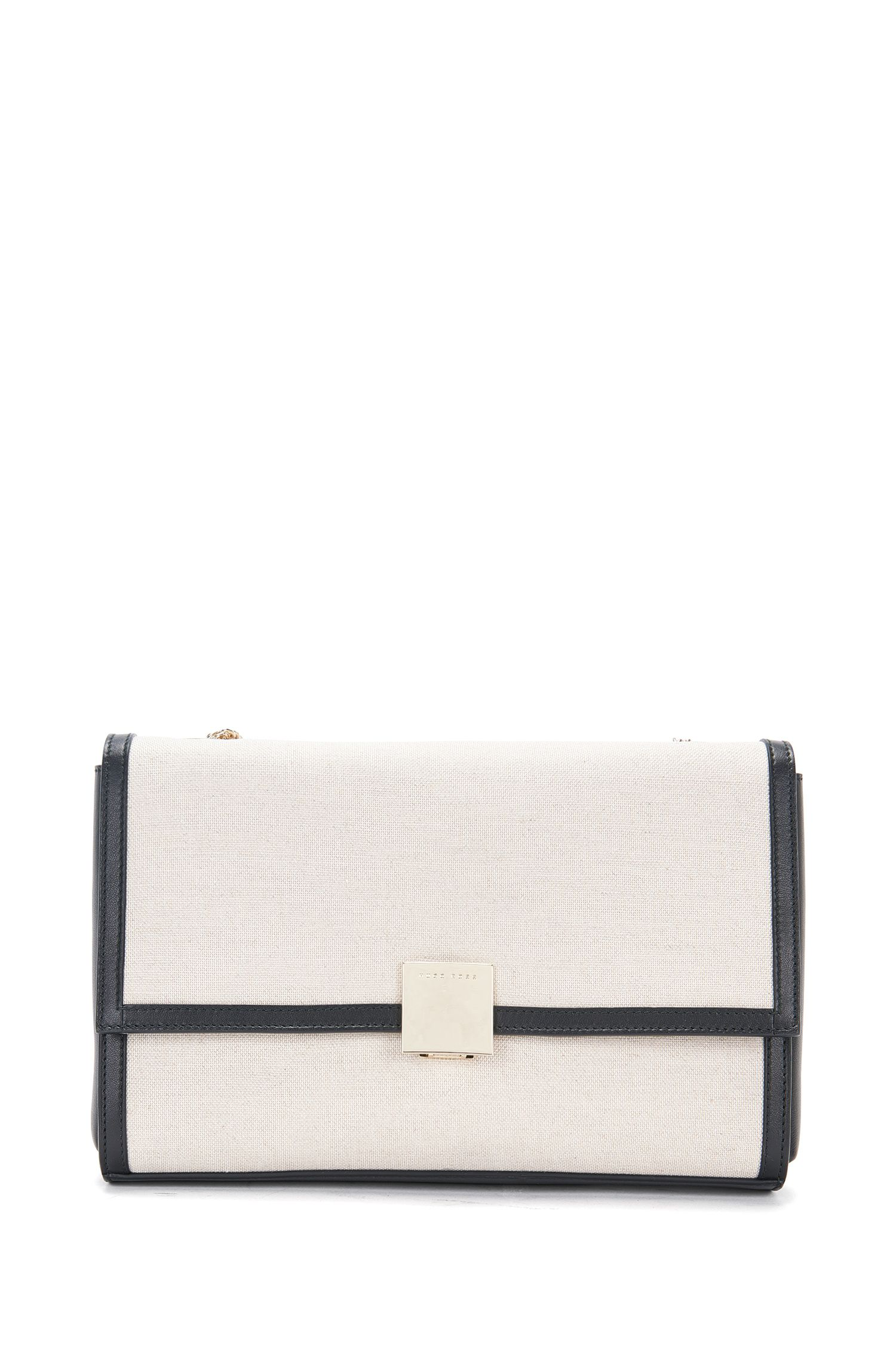 'Munich Flap SC' | Italian Cotton Linen Leather Handbag, Chain Strap