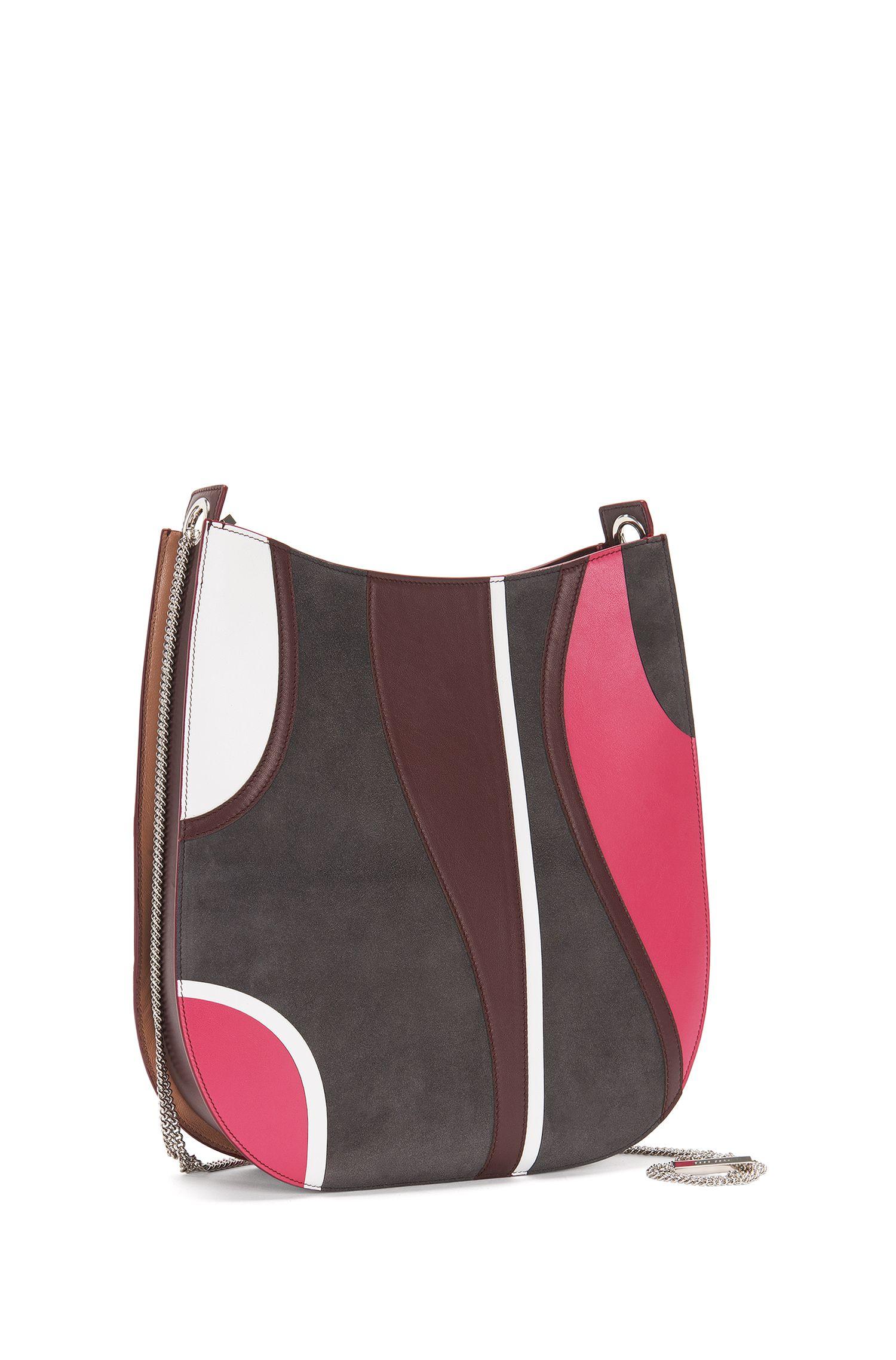 'BOSS Bespoke H S P' | Italian Leather Patchwork Hobo Bag, Detachable Chain Strap