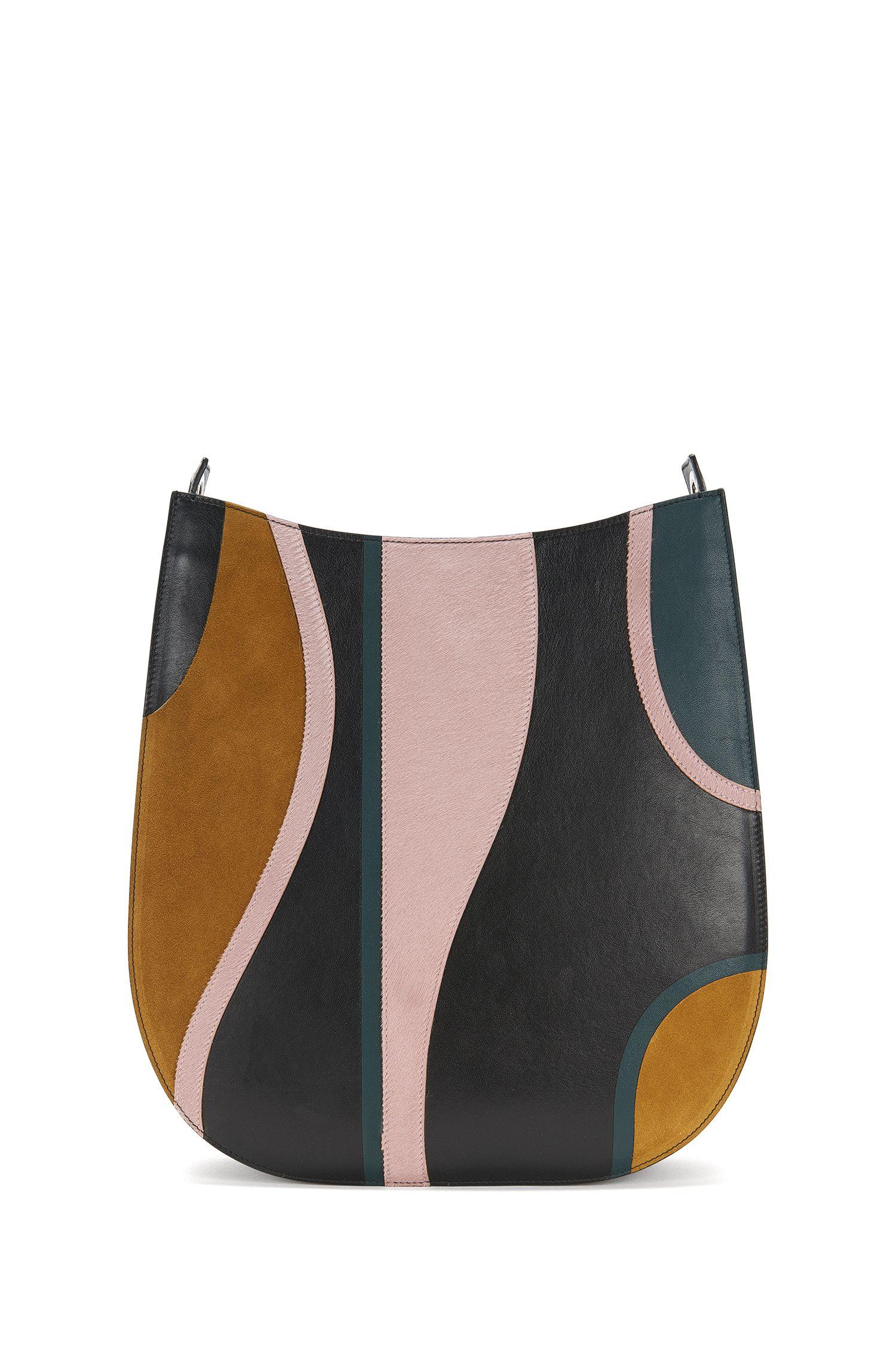 'BOSS Bespoke H S-G' | Italian Leather Patchwork Hobo Bag, Detachable Chain Strap