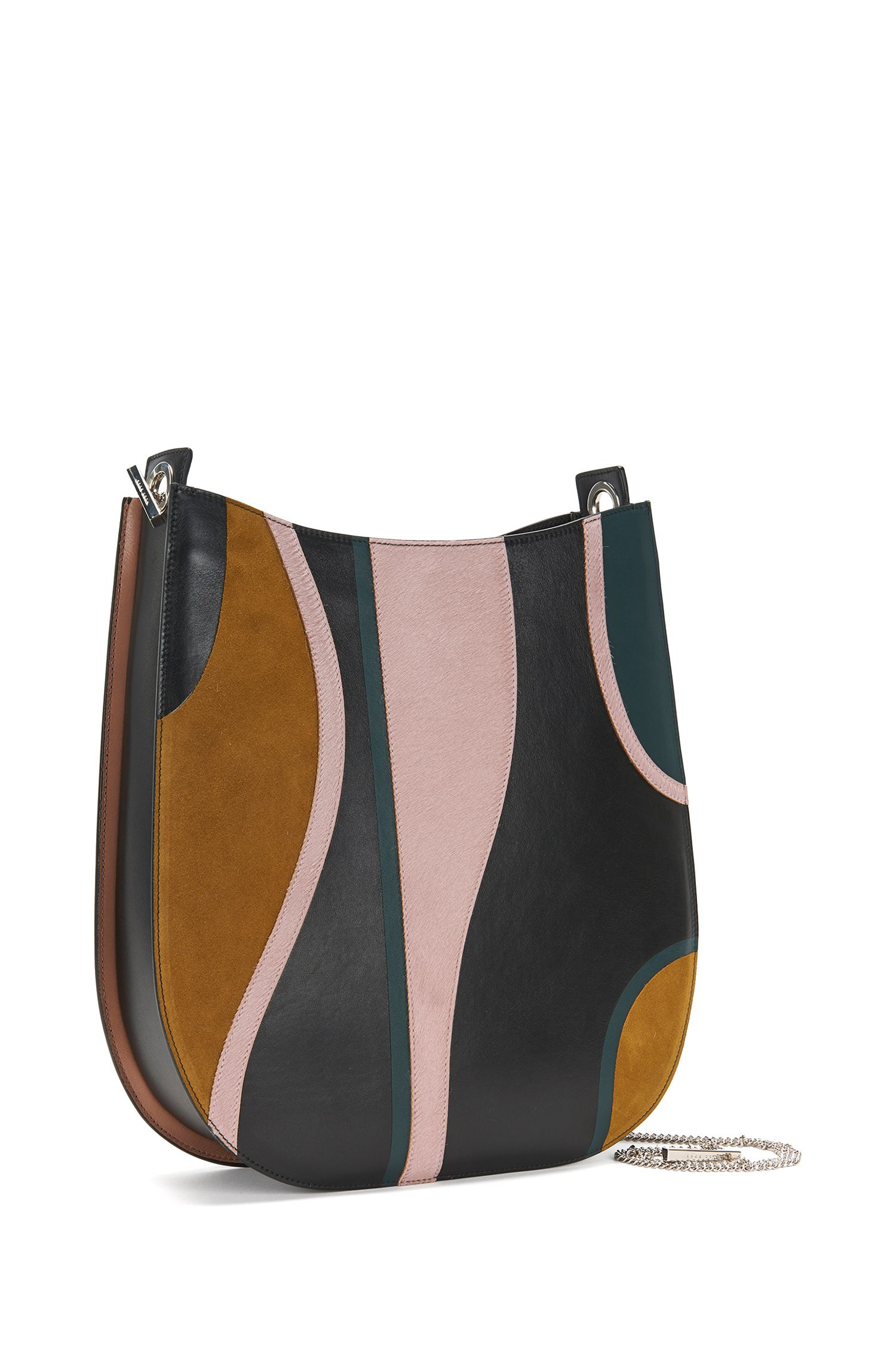 'BOSS Bespoke H S-G' | Italian Leather Patchwork Hobo Bag, Detachable Chain Strap