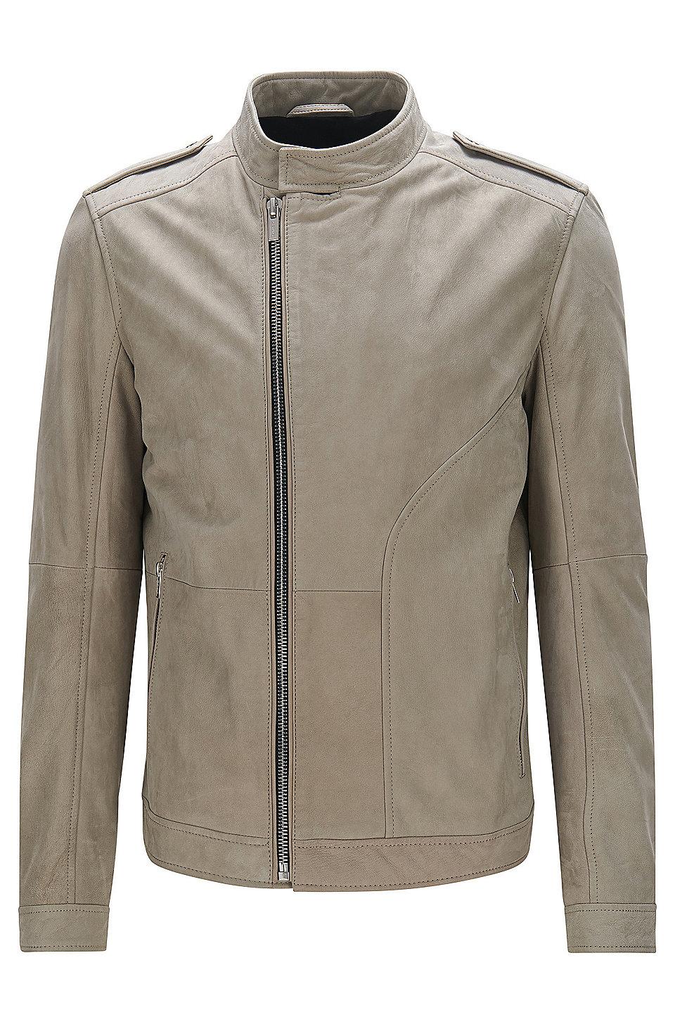Hugo boss ladies leather gloves -  Landerson Regular Fit Asymmetrical Leather Jacket