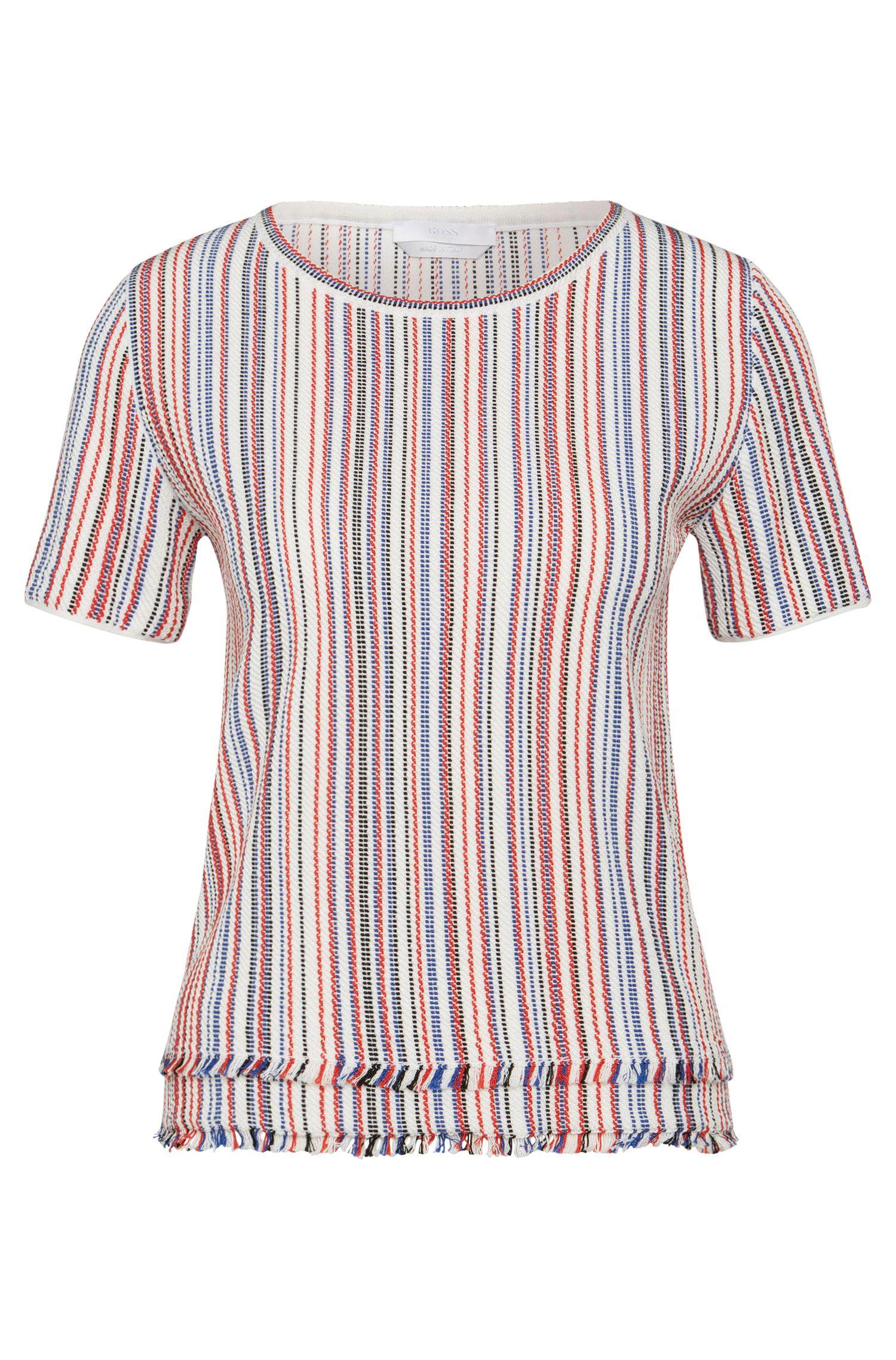 'Fina'   Cotton Blend Multi-Stripe Fringed Blouse