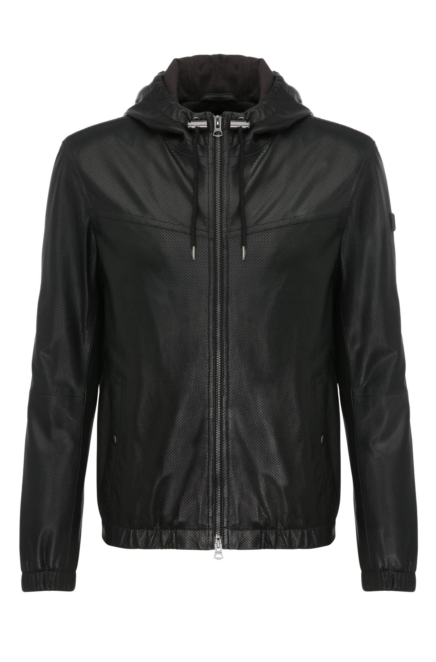 'Jainee' | Lambskin Perforated Hooded Blouson Jacket