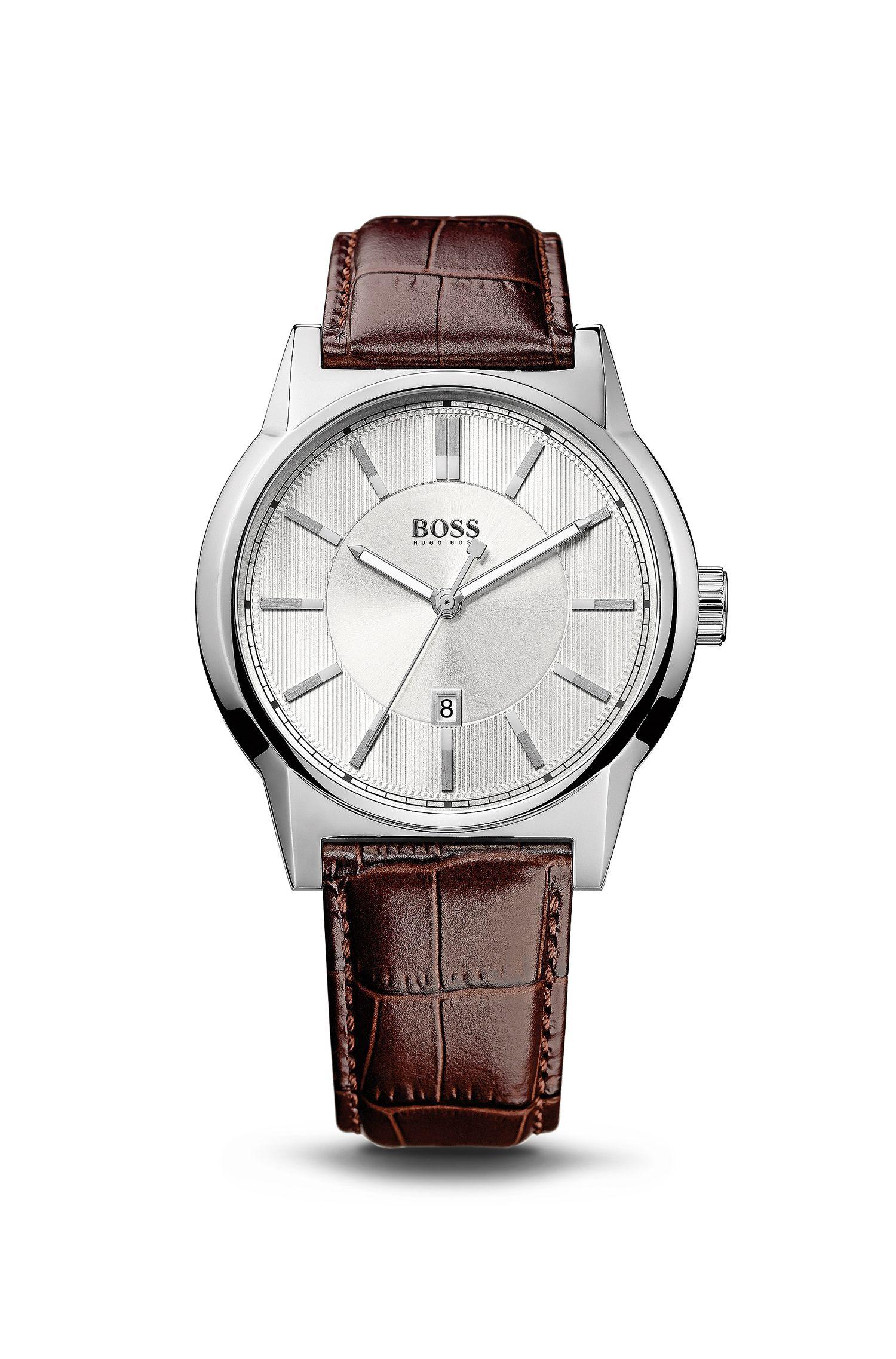 '1512912' | Brown Crocodile Embossed Leather Strap Quartz Watch