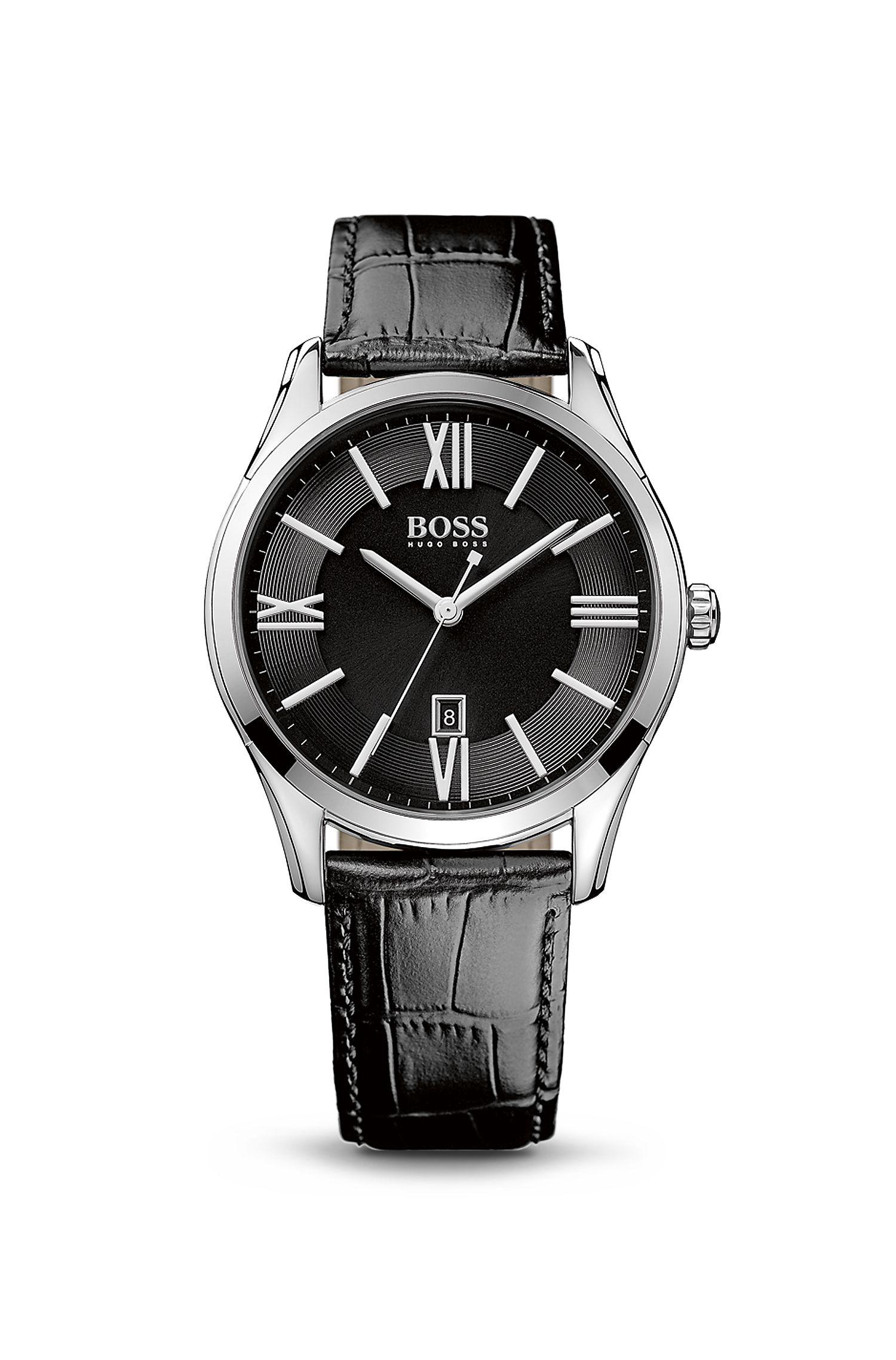 '1513022' | Black Croc-Embossed Strap 3-Hand Quartz Ambassador Watch