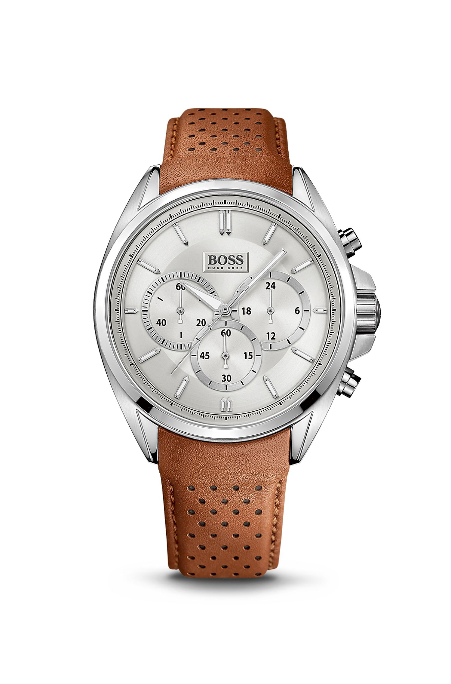 '1513118' | Chronograph Brown Perforated Leather Strap Driver Watch