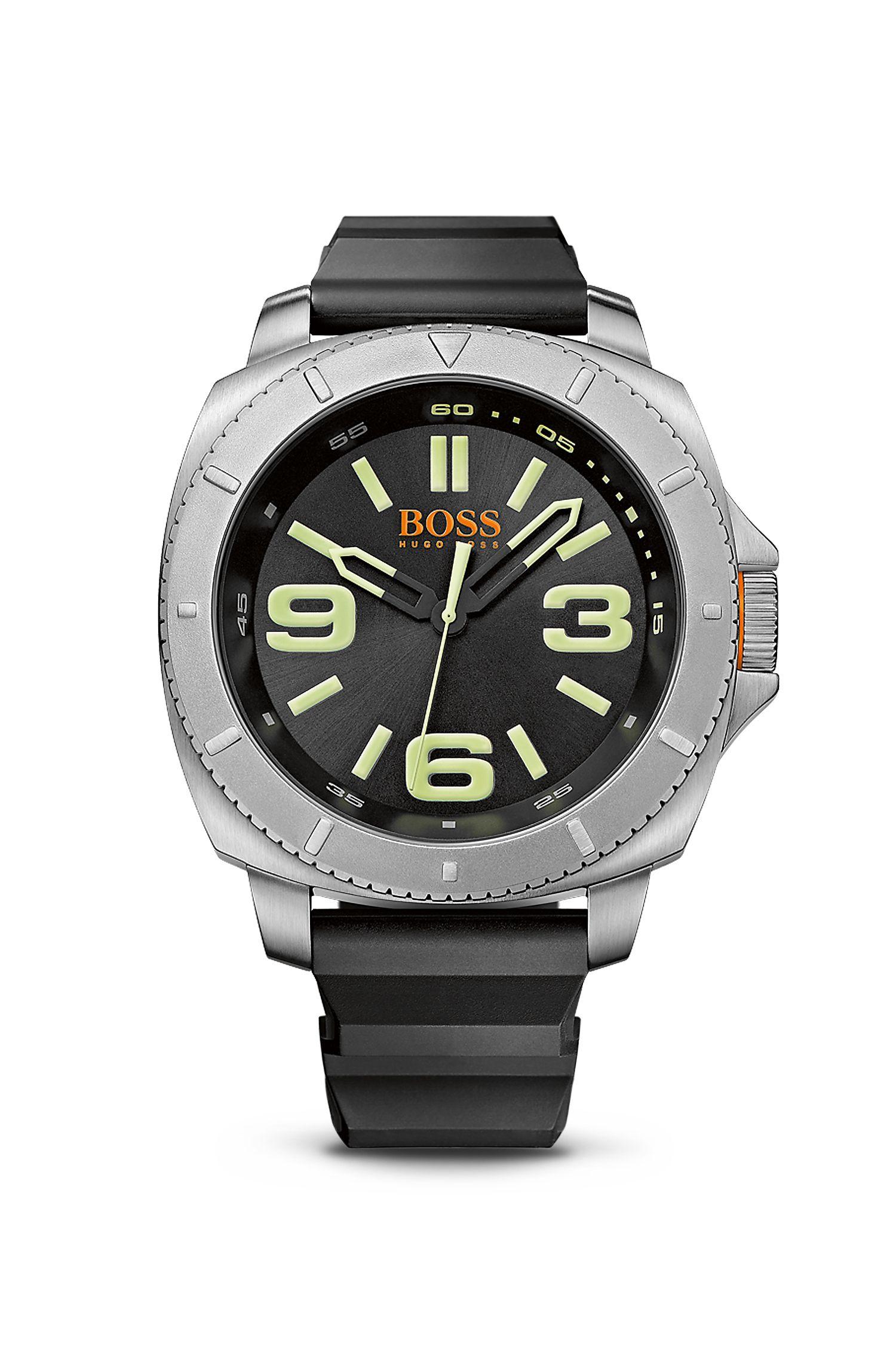 '1513107' | Black Silicone Strap 3-Hand Quartz Sao Paulo Watch