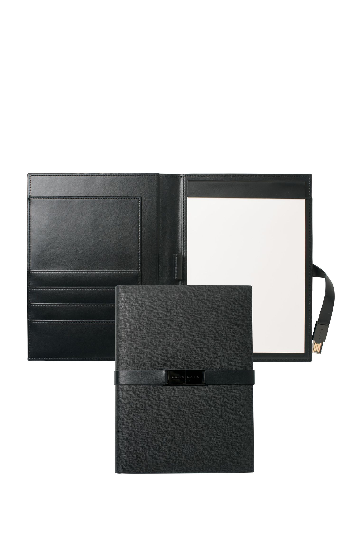 'Folder With USB Binder' | Leather Folder With Pad, USB Stick