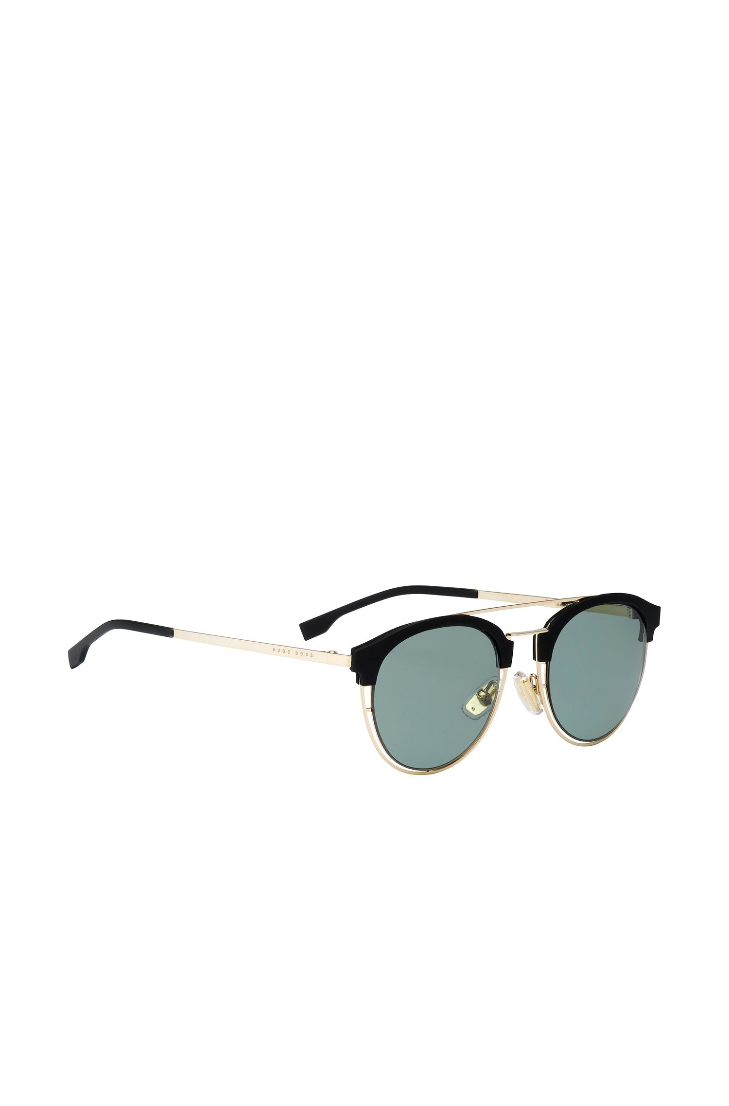 'BOSS 0784S' | Gray Green Lens Clubmaster Sunglasses