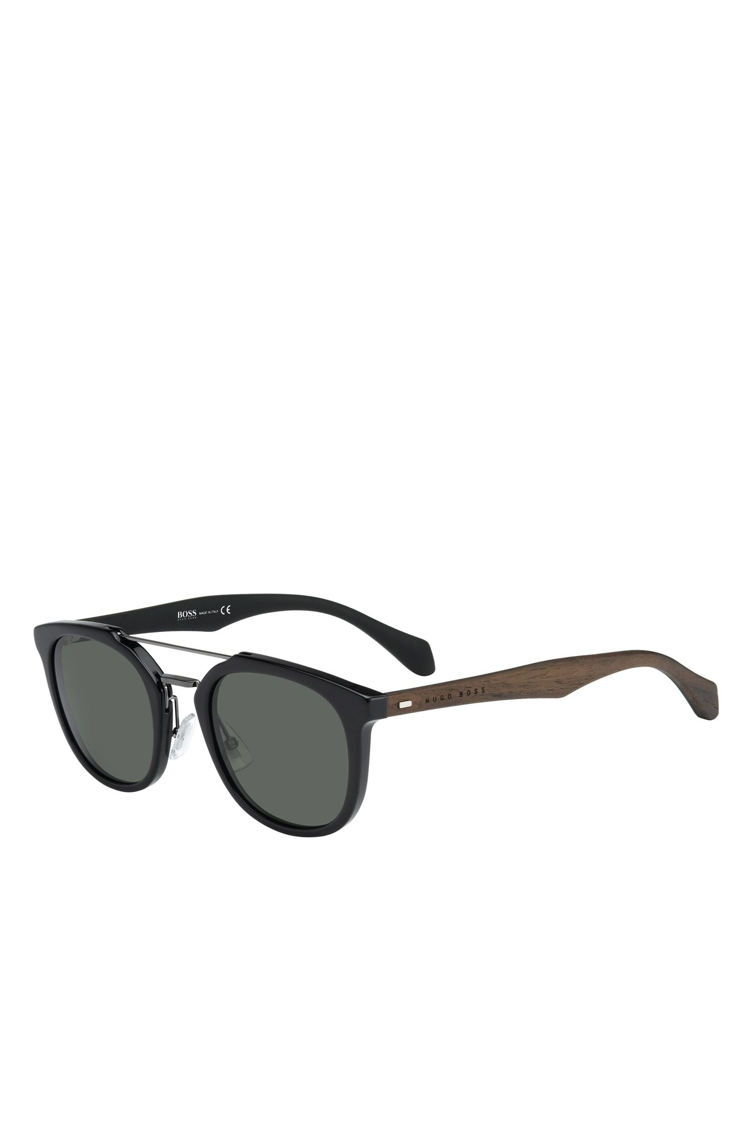 'BOSS 0777S' | Gray Green Lens Clubmaster Sunglasses