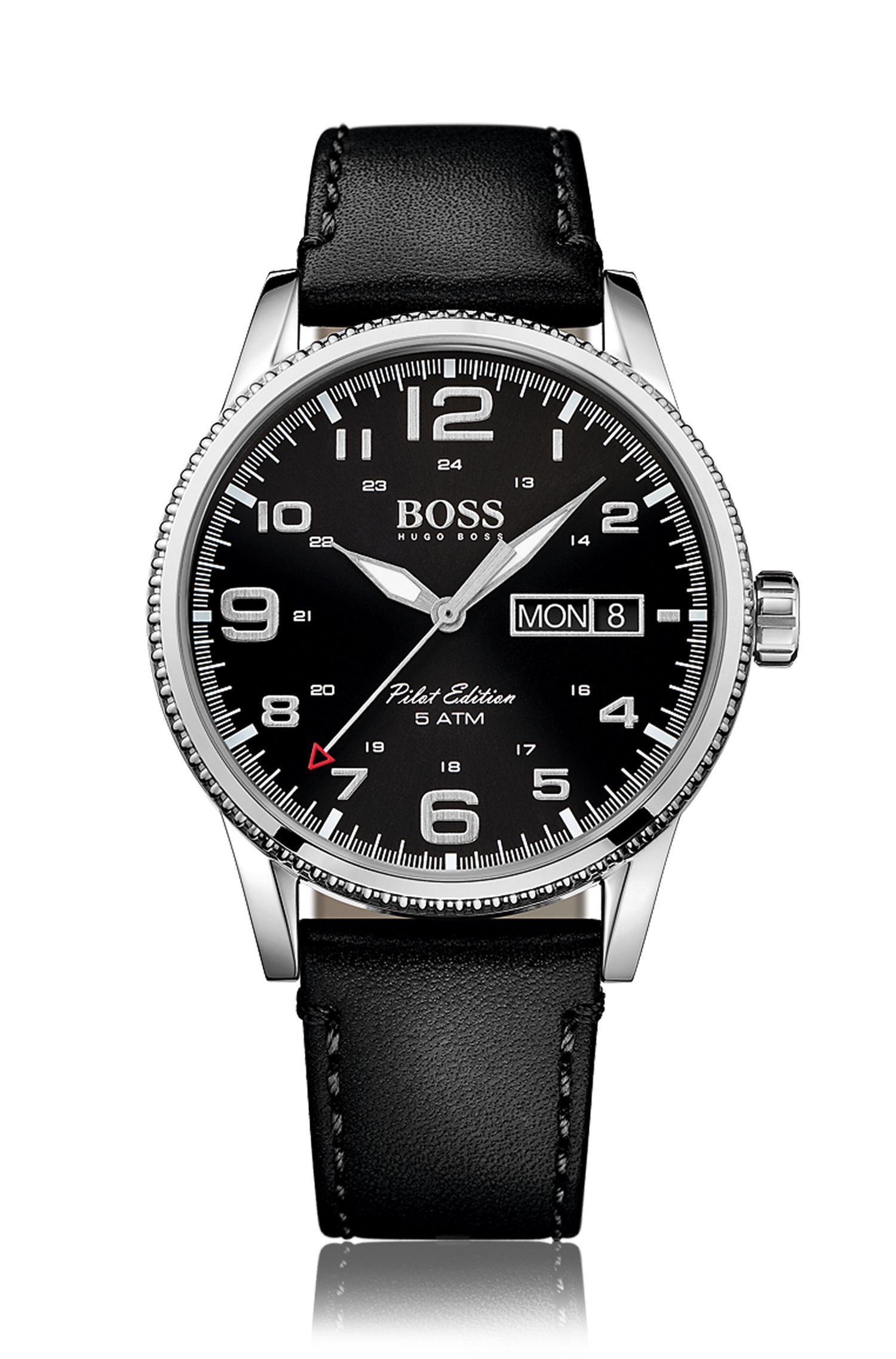 '1513330' | Stainless Steel Leather Strap Pilot Edition Watch