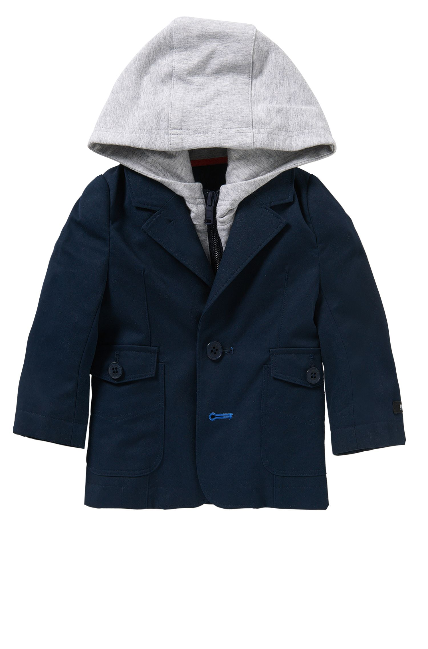 'J06138' | Newborn Cotton Sport Coat, Detachable Hood