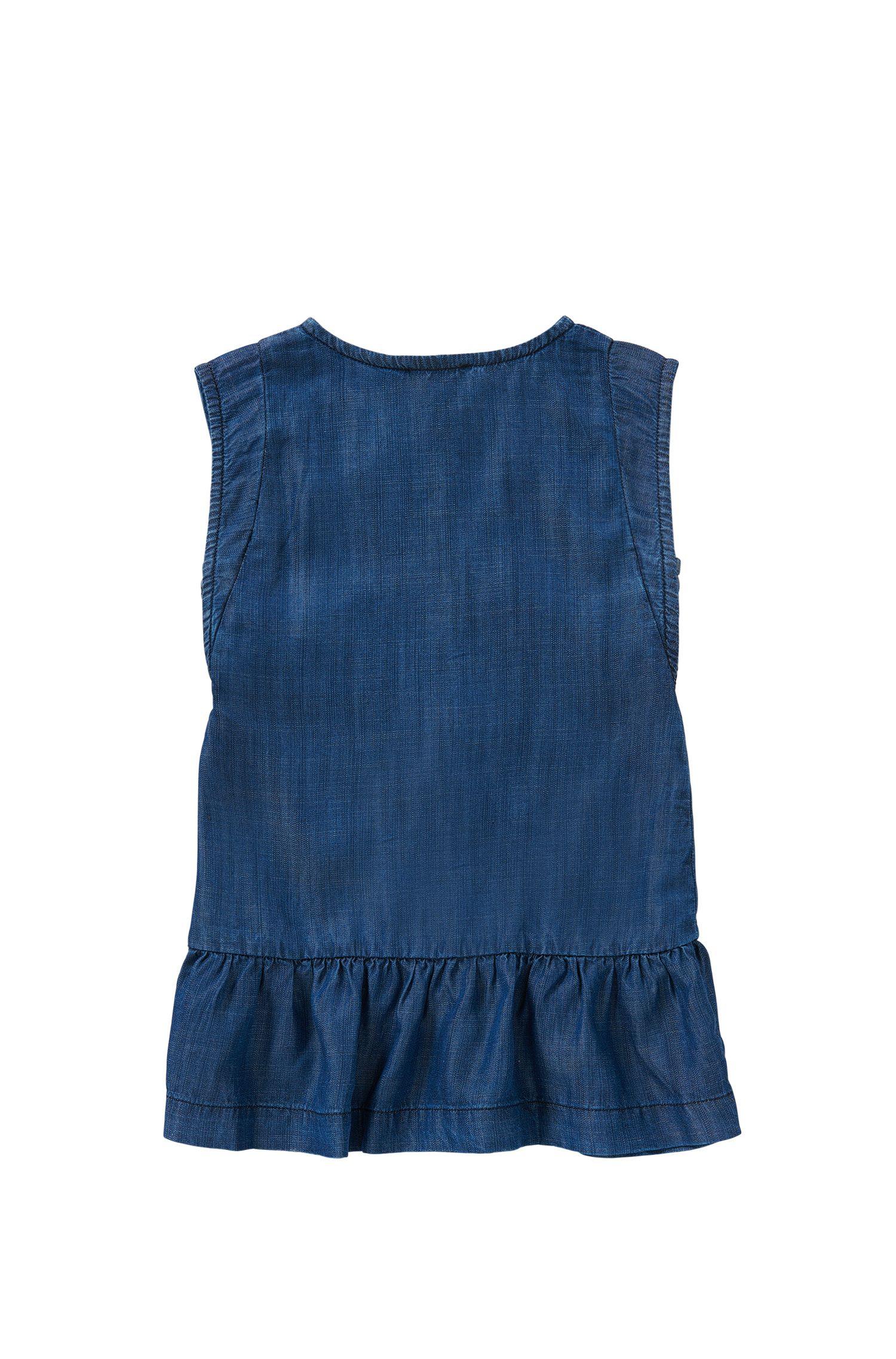 'J12149' | Girls Tencel Denim Buttoned Dress