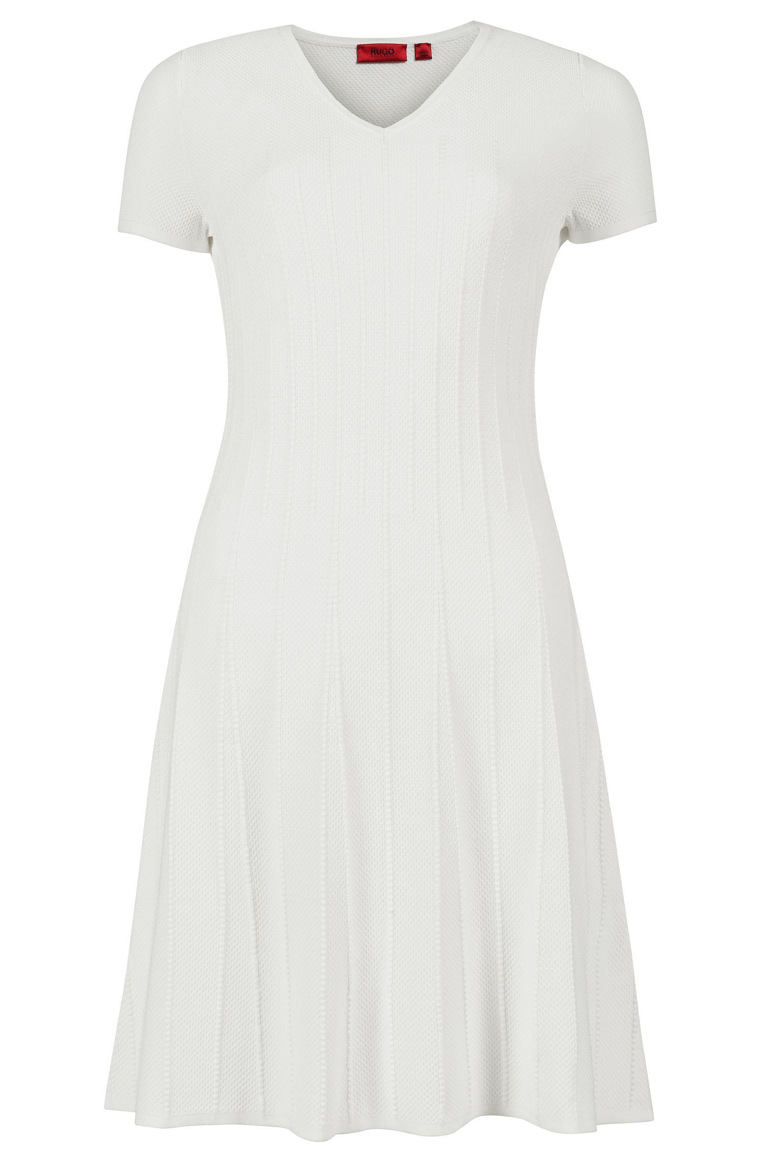 'Silvya' | Viscose Blend Knit A-Line Ribbed Dress