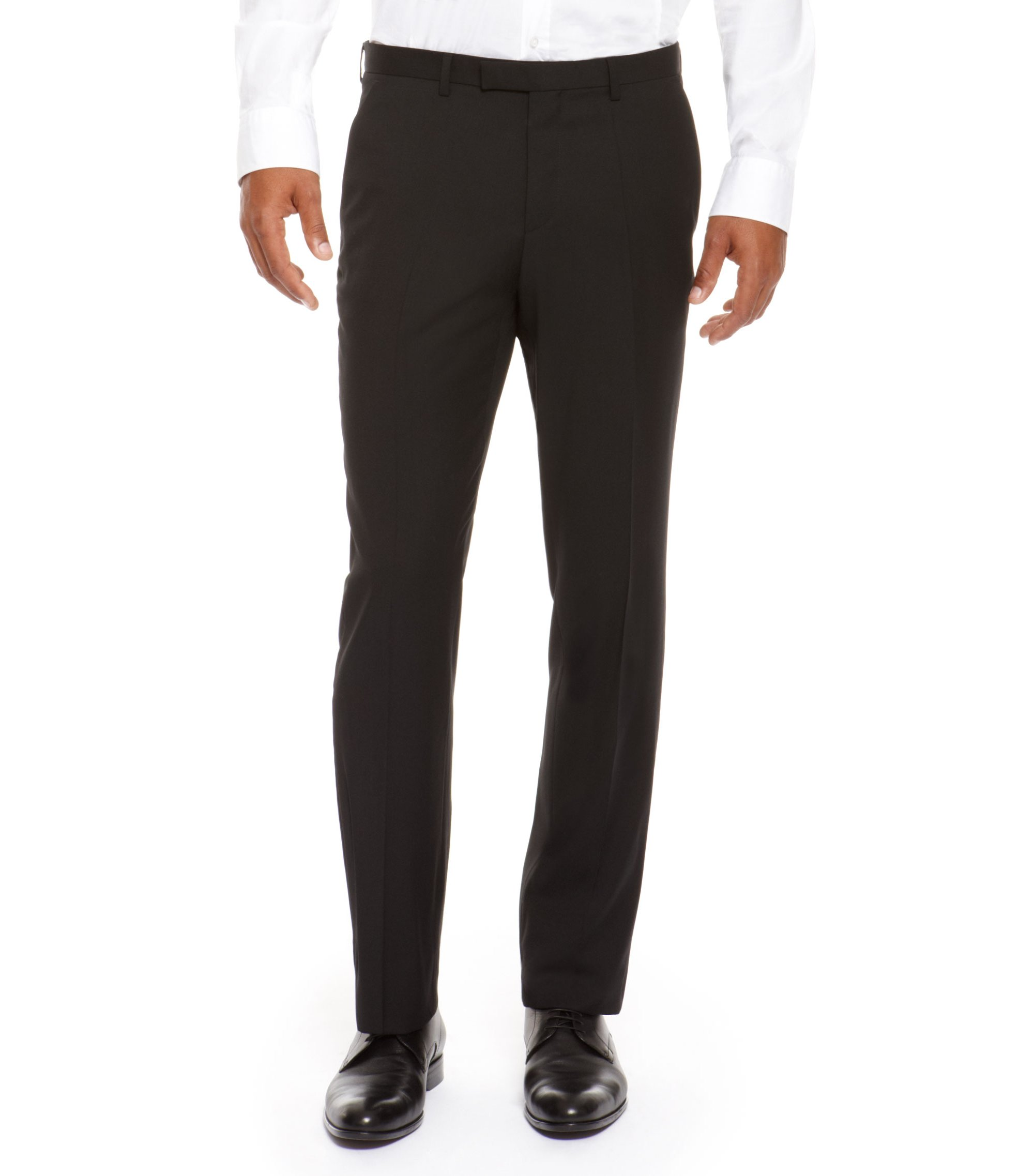 Virgin Wool Dress Pant, Regular Fit | Sharp, Black
