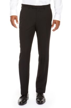 'Sharp' | Regular Fit, Virgin Wool Dress Pants, Black