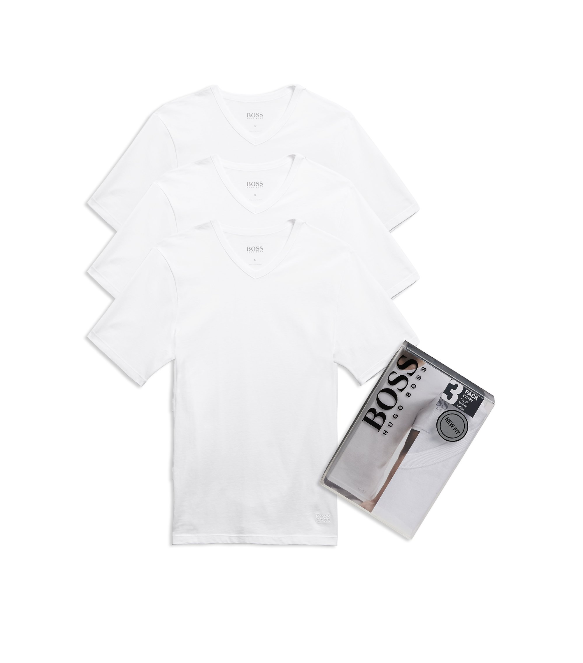 'Shirt' | Cotton V-Neck Undershirt, 3-Pack, White