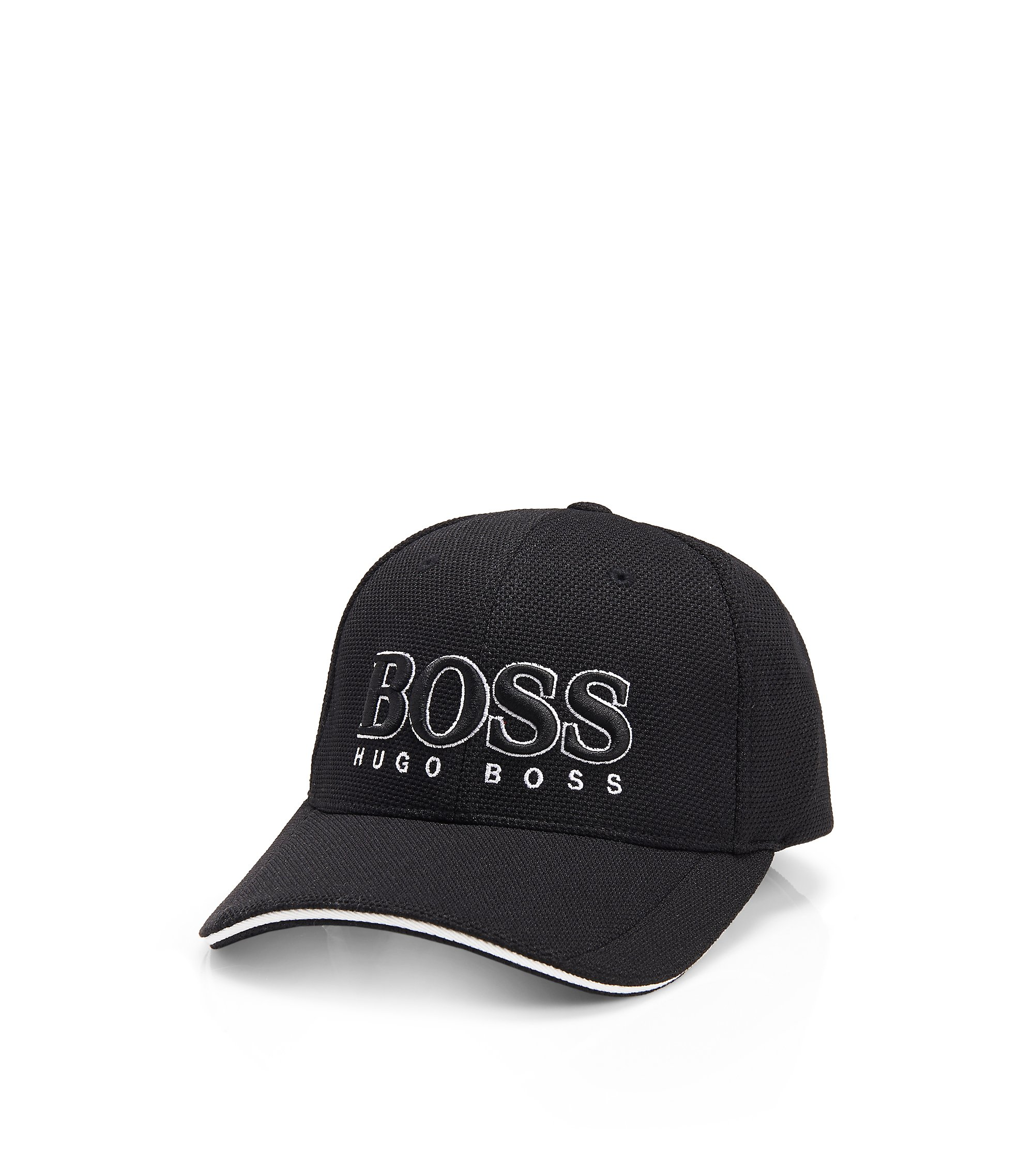 Baseball cap in technical piqué , Black