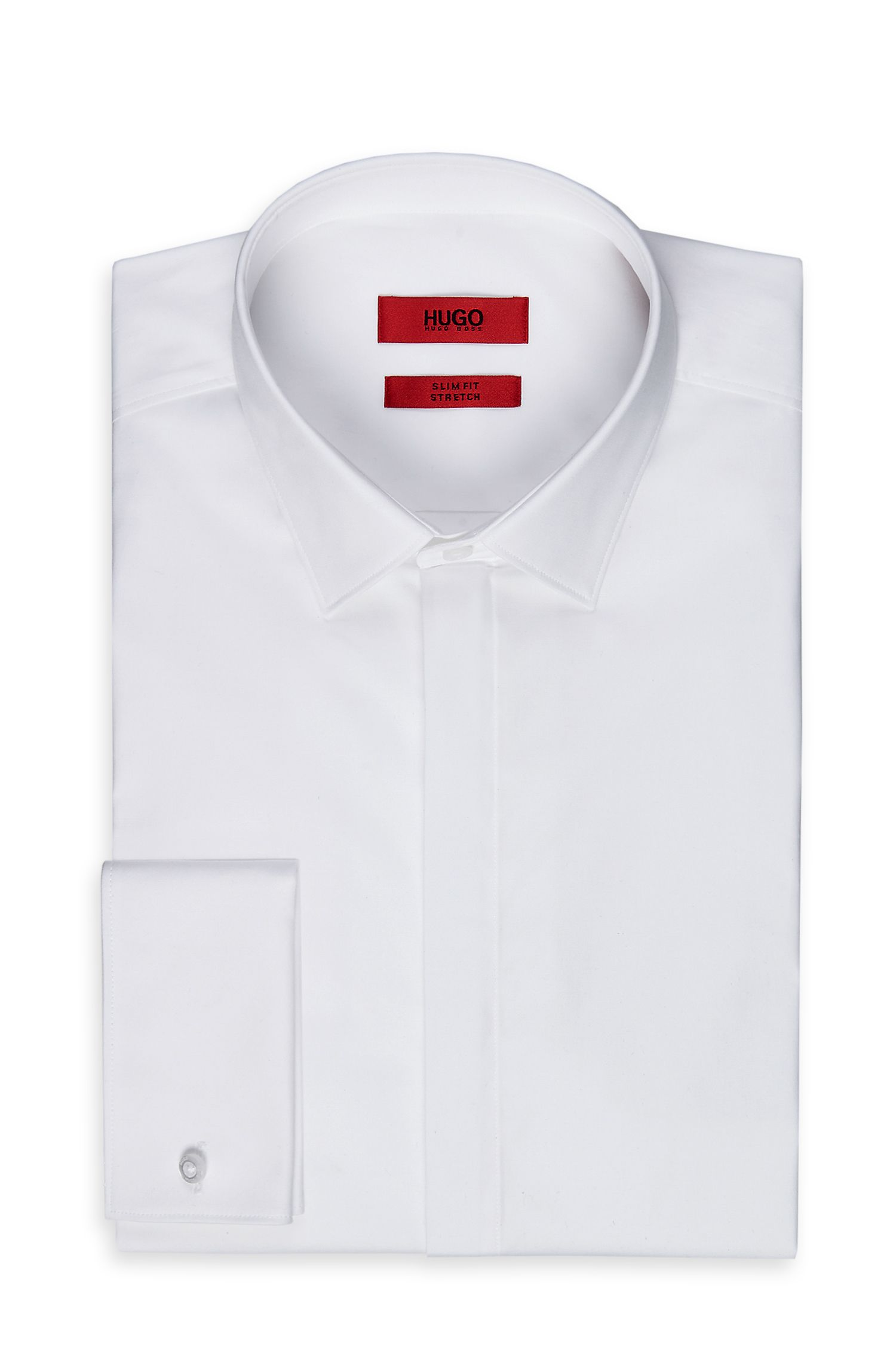 'EVENINGX' | Slim Fit, Point Collar Stretch Cotton French Cuff Dress Shirt