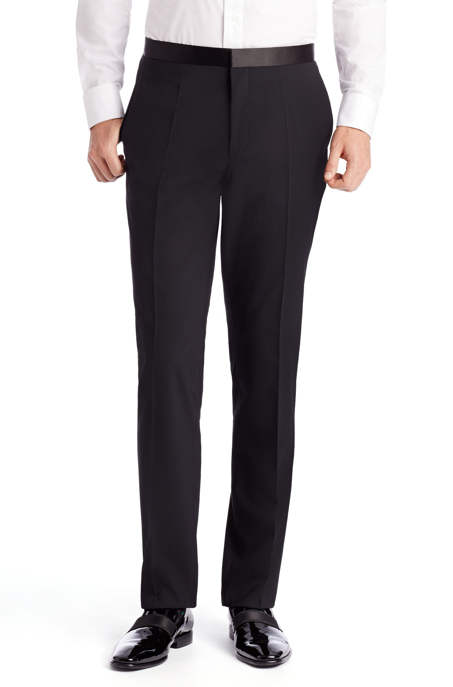 Stretch Virgin Wool Tuxedo, Slim Fit | Aylor/Herys, Black