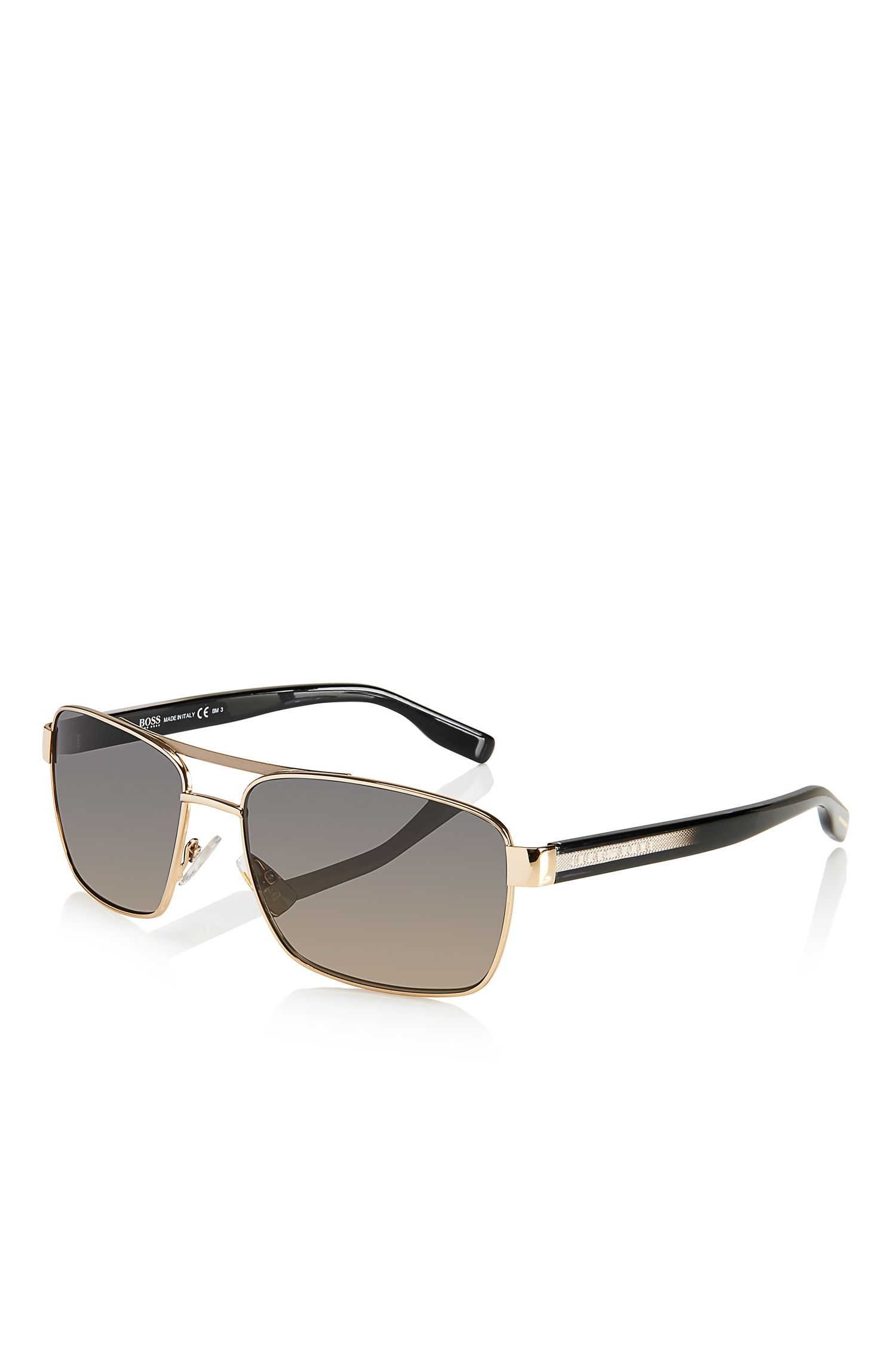 'Sunglasses' | Gold Aviator Shaded Temple Sunglasses