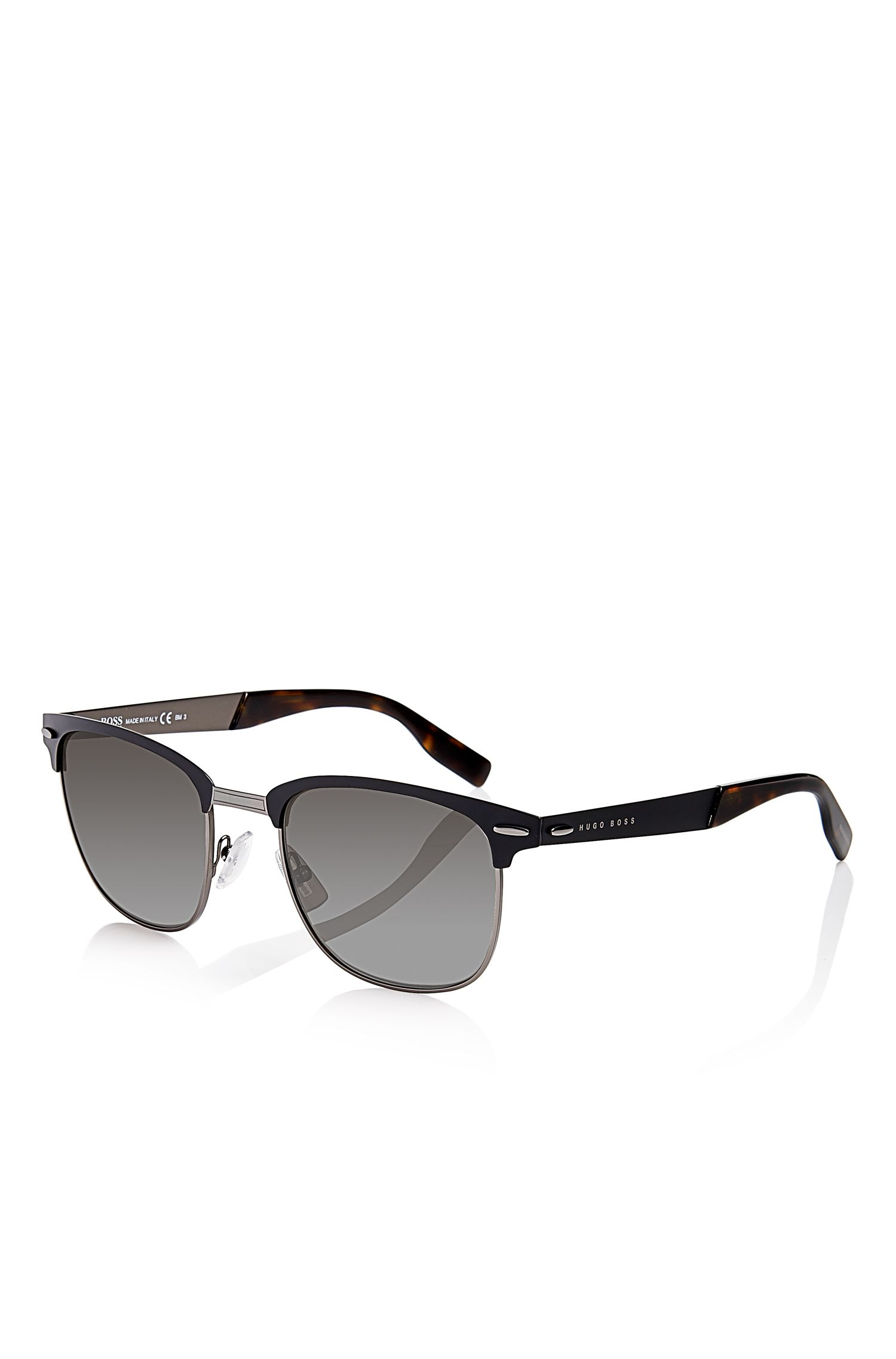 'Sunglasses' | Matte Black Semi-Rimless Sunglasses