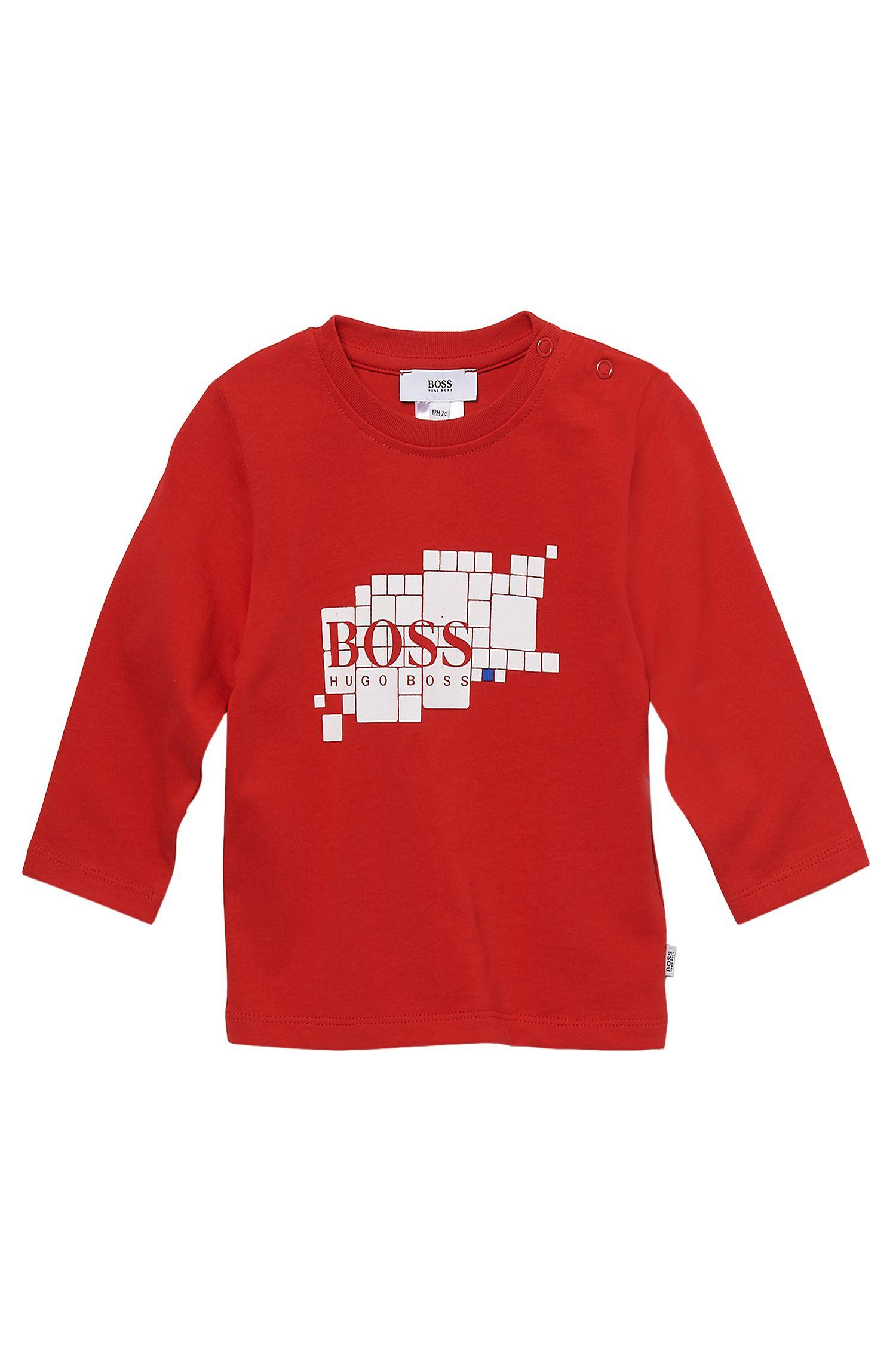 'J05249' | Toddler Long-Sleeved Cotton Print Crewneck T-Shirt
