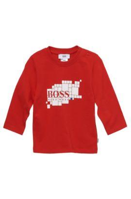 'J05249'   Toddler Long-Sleeved Cotton Print Crewneck T-Shirt, Red