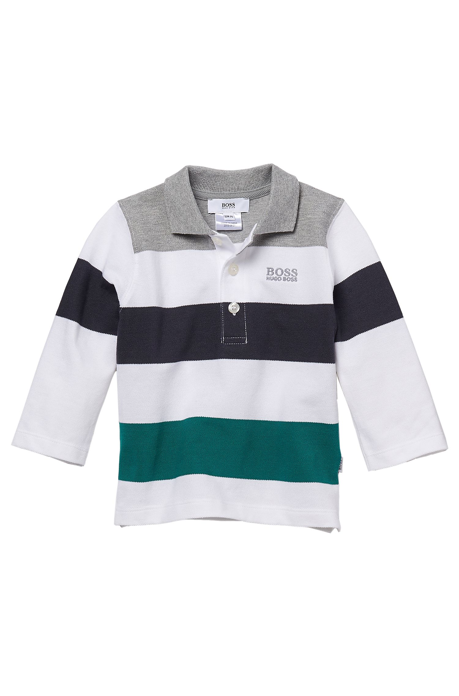 'J05261' | Toddler Long-Sleeved Stretch Cotton Color blocked Polo Shirt