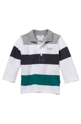'J05261' | Toddler Long-Sleeved Stretch Cotton Color blocked Polo Shirt, White