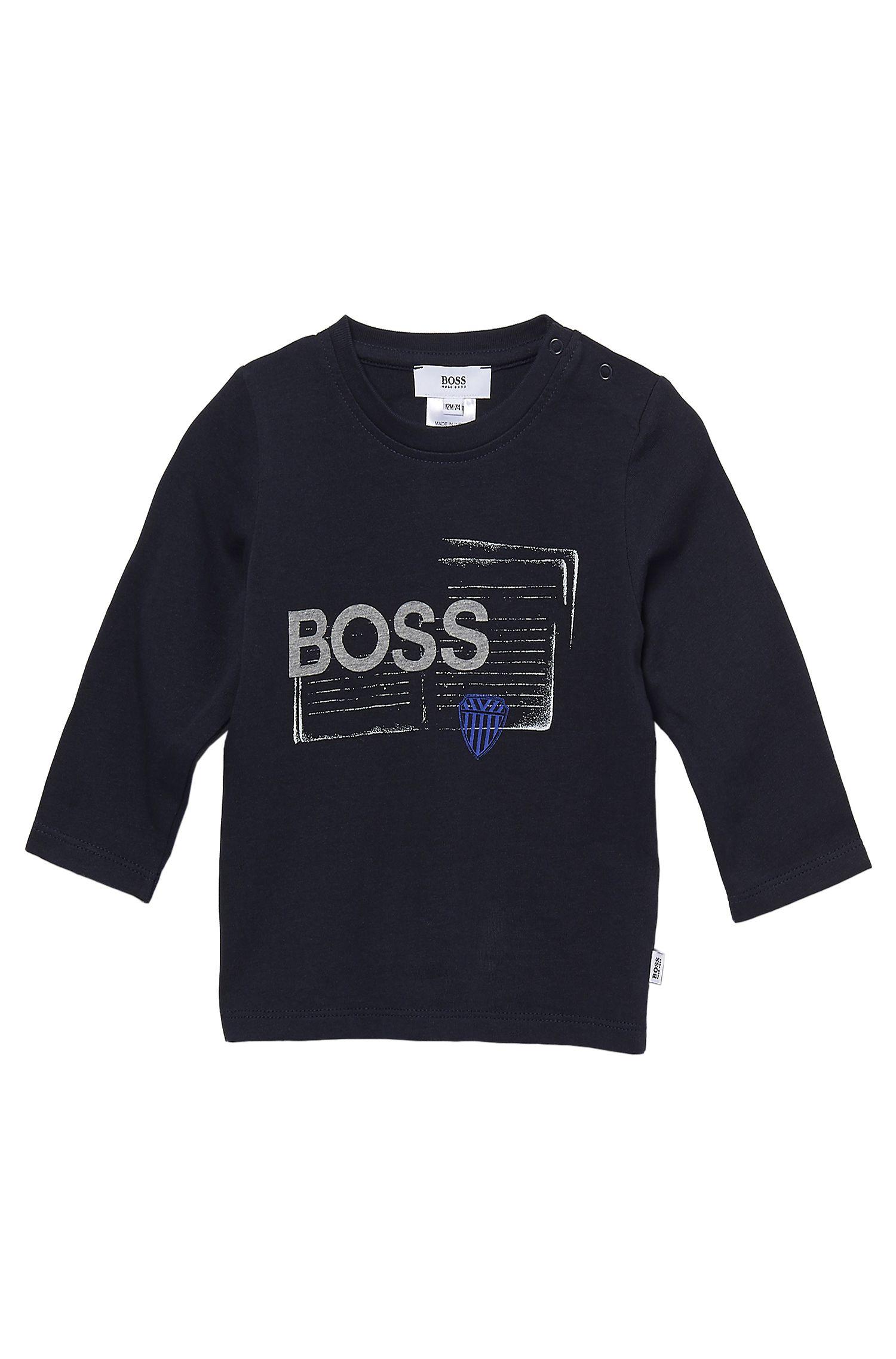 'J05263' | Toddler Long-Sleeved Cotton Print Crewneck T-Shirt