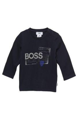 'J05263' | Toddler Long-Sleeved Cotton Print Crewneck T-Shirt, Dark Blue