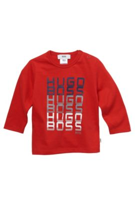 'J05267' | Toddler Long-Sleeved Cotton Print Crewneck T-Shirt, Red