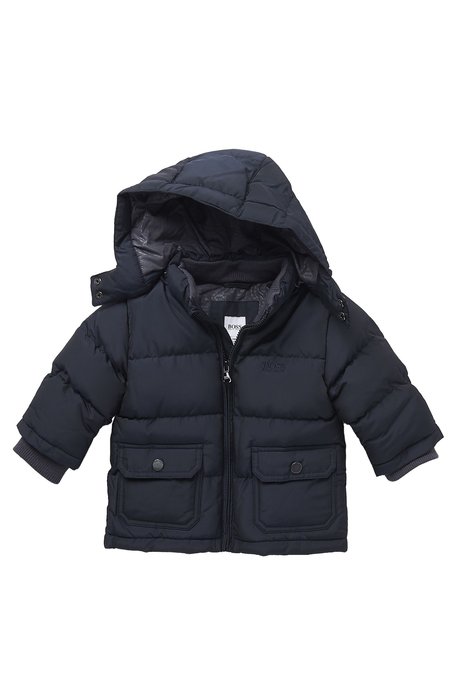 'J06076'   Toddler Polyester Blend Quilted Jacket with Detachable Hood