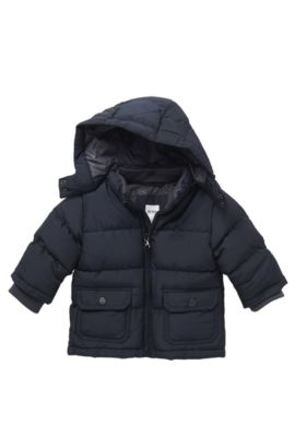 'J06076'   Toddler Polyester Blend Quilted Jacket with Detachable Hood, Dark Blue